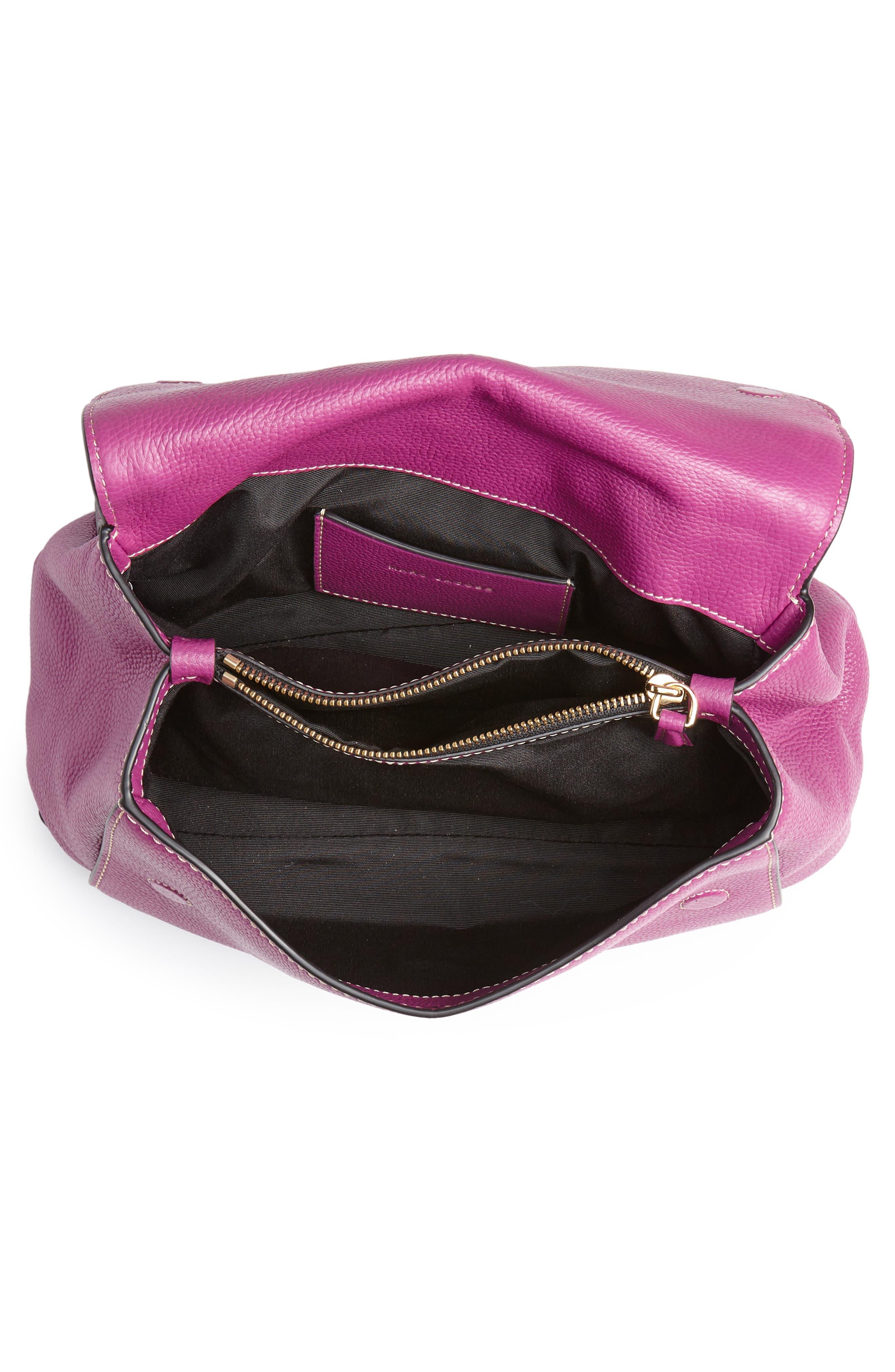 The Grind Boho Leather Shoulder Bag,                             Alternate thumbnail 4, color,                             RHUBARB