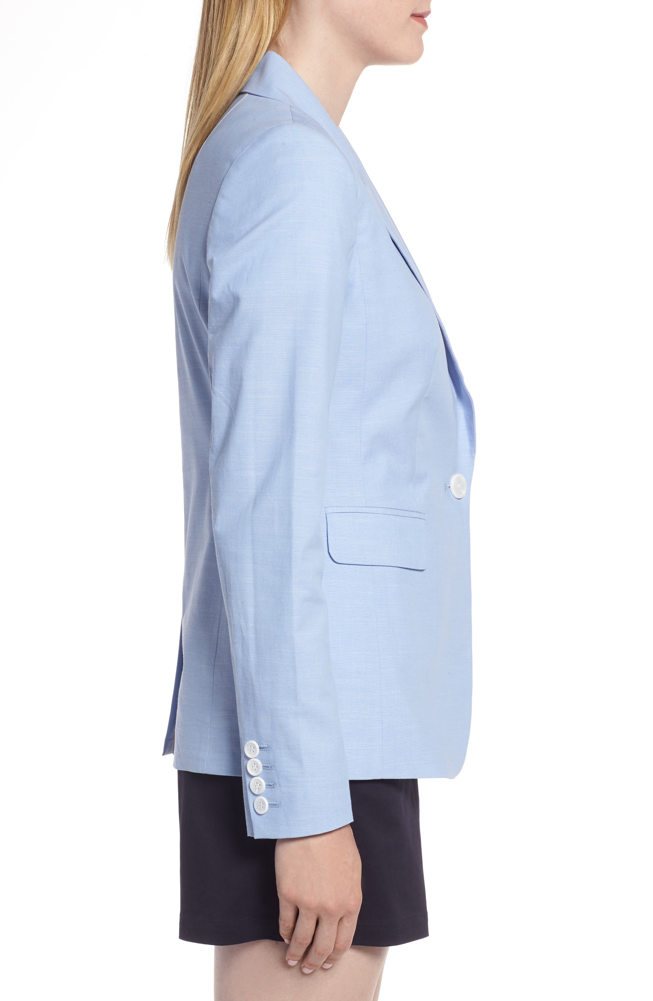 Cotton Chambray Blazer,                             Alternate thumbnail 3, color,                             CHAMBRAY