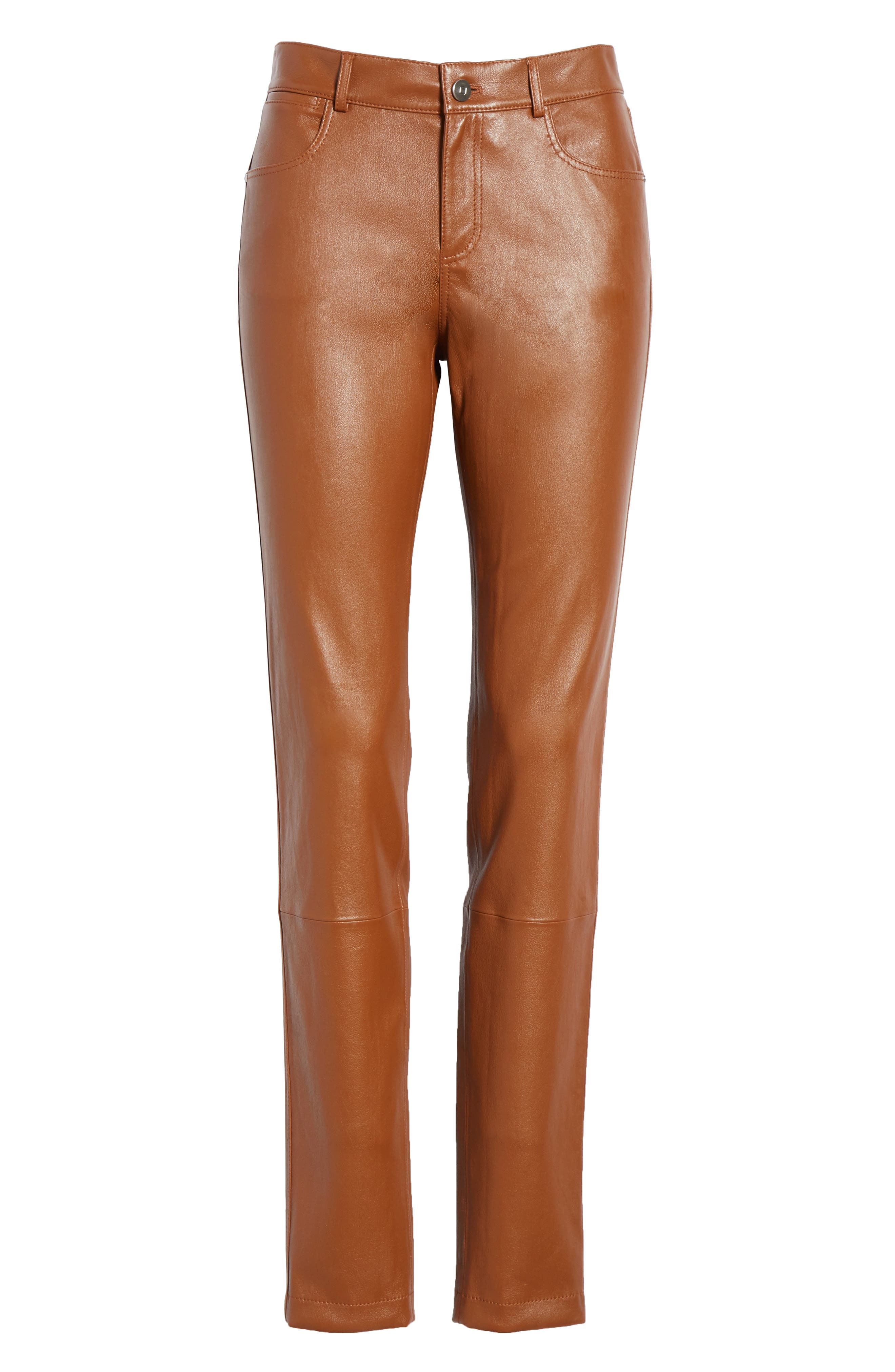 Mercer Nappa Leather Pants,                             Alternate thumbnail 6, color,                             VICUNA