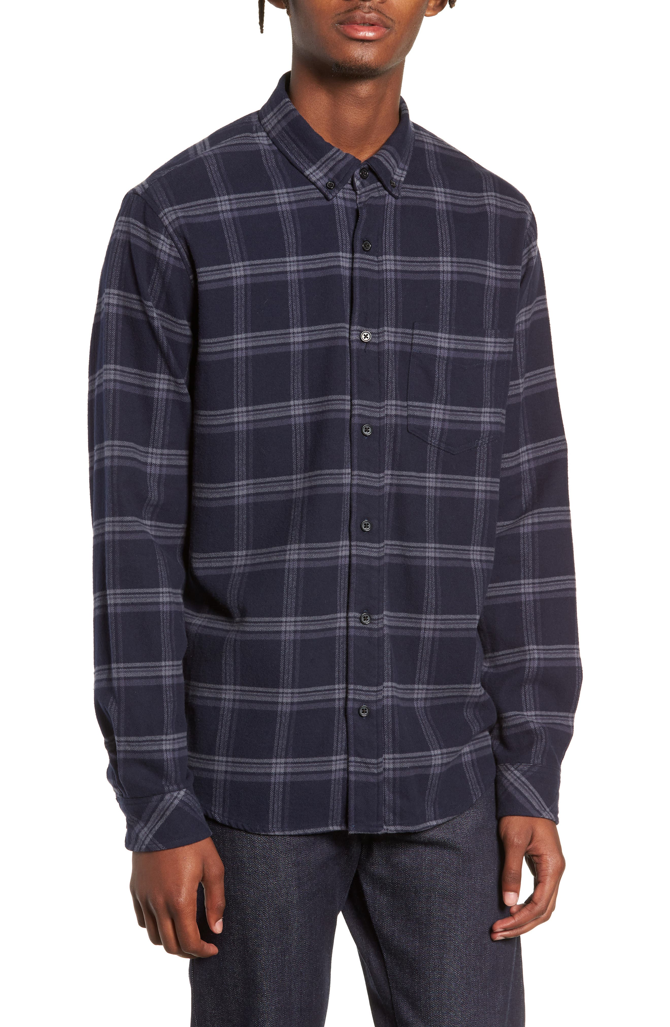 Forrest Slim Fit Plaid Flannel Sport Shirt,                         Main,                         color, NAVY/HEATHERED CHARCOAL
