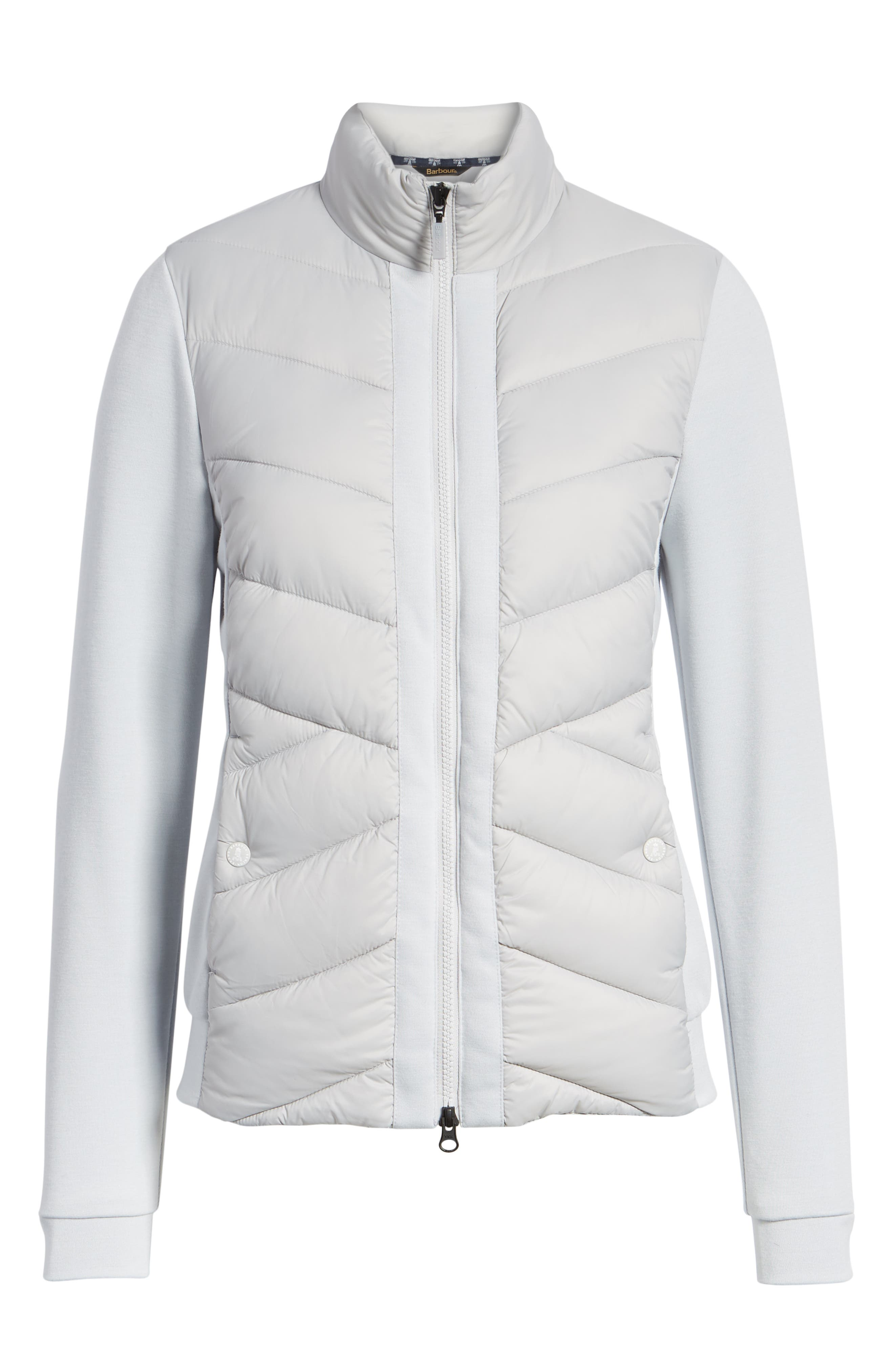 BARBOUR,                             Hirsel Chevron Quilted Sweater Jacket,                             Alternate thumbnail 5, color,                             ICE WHITE/ ICE WHITE MARL