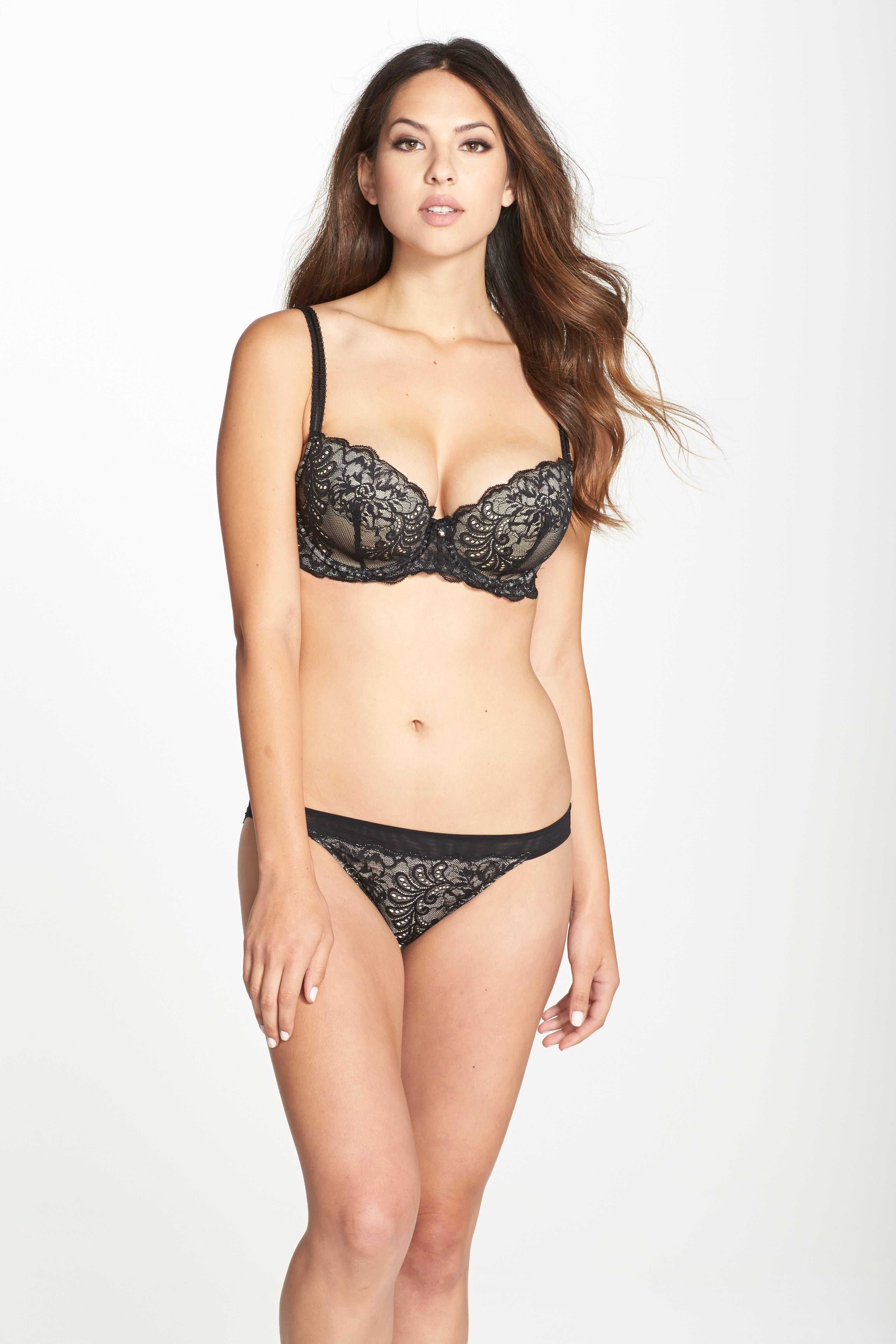 'Sophia' Lace Bikini,                             Alternate thumbnail 4, color,                             BLACK