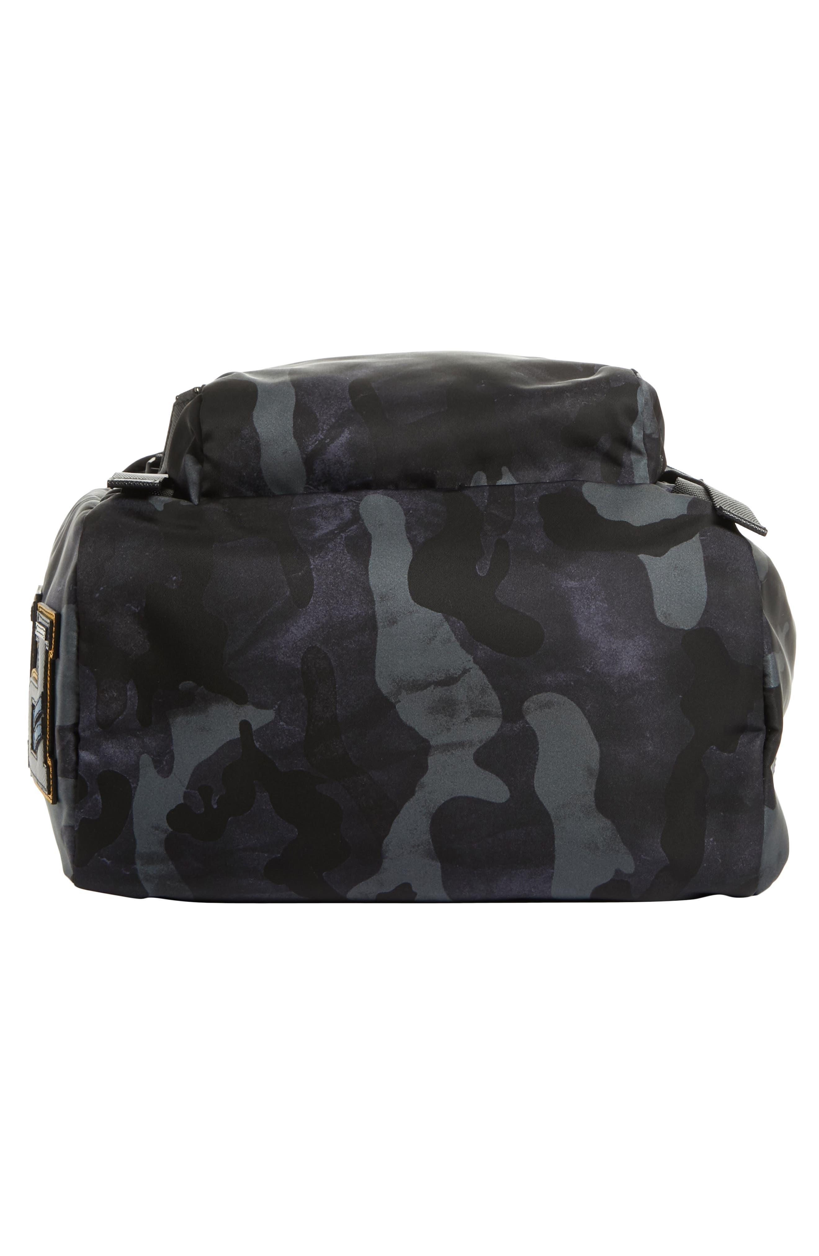 Tessuto Camo Nylon Backpack,                             Alternate thumbnail 6, color,                             BLACK
