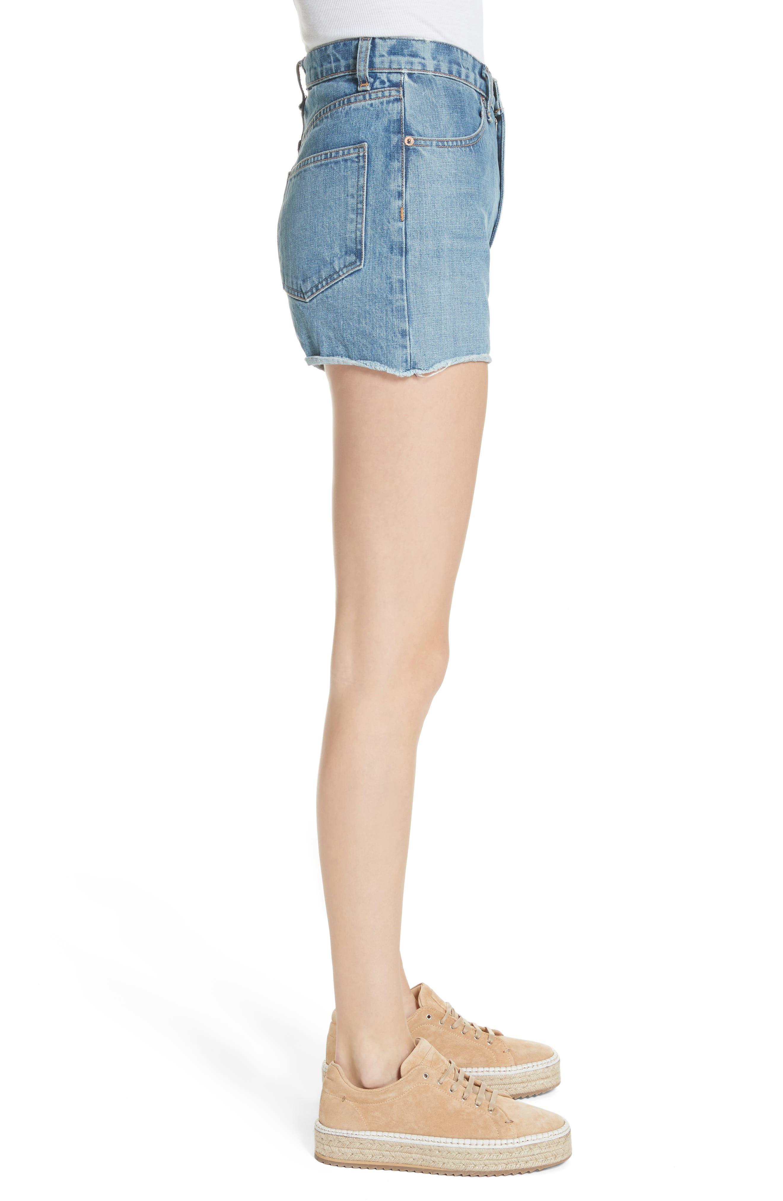 Torti High Waist Denim Shorts,                             Alternate thumbnail 3, color,                             400