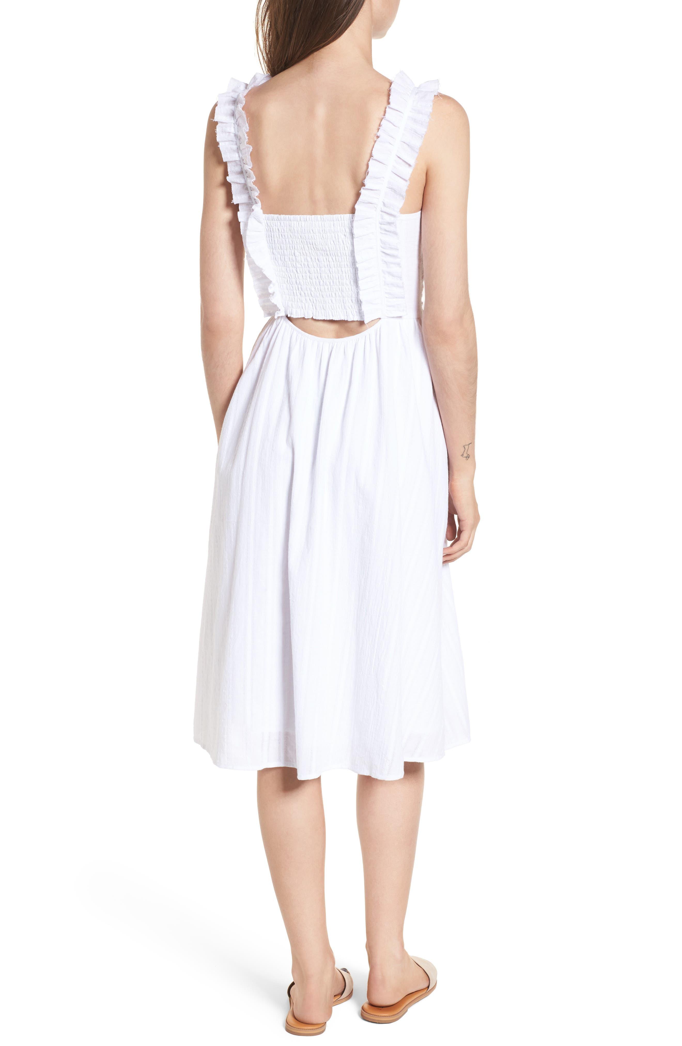 Lace Inset Cotton Dress,                             Alternate thumbnail 2, color,                             100