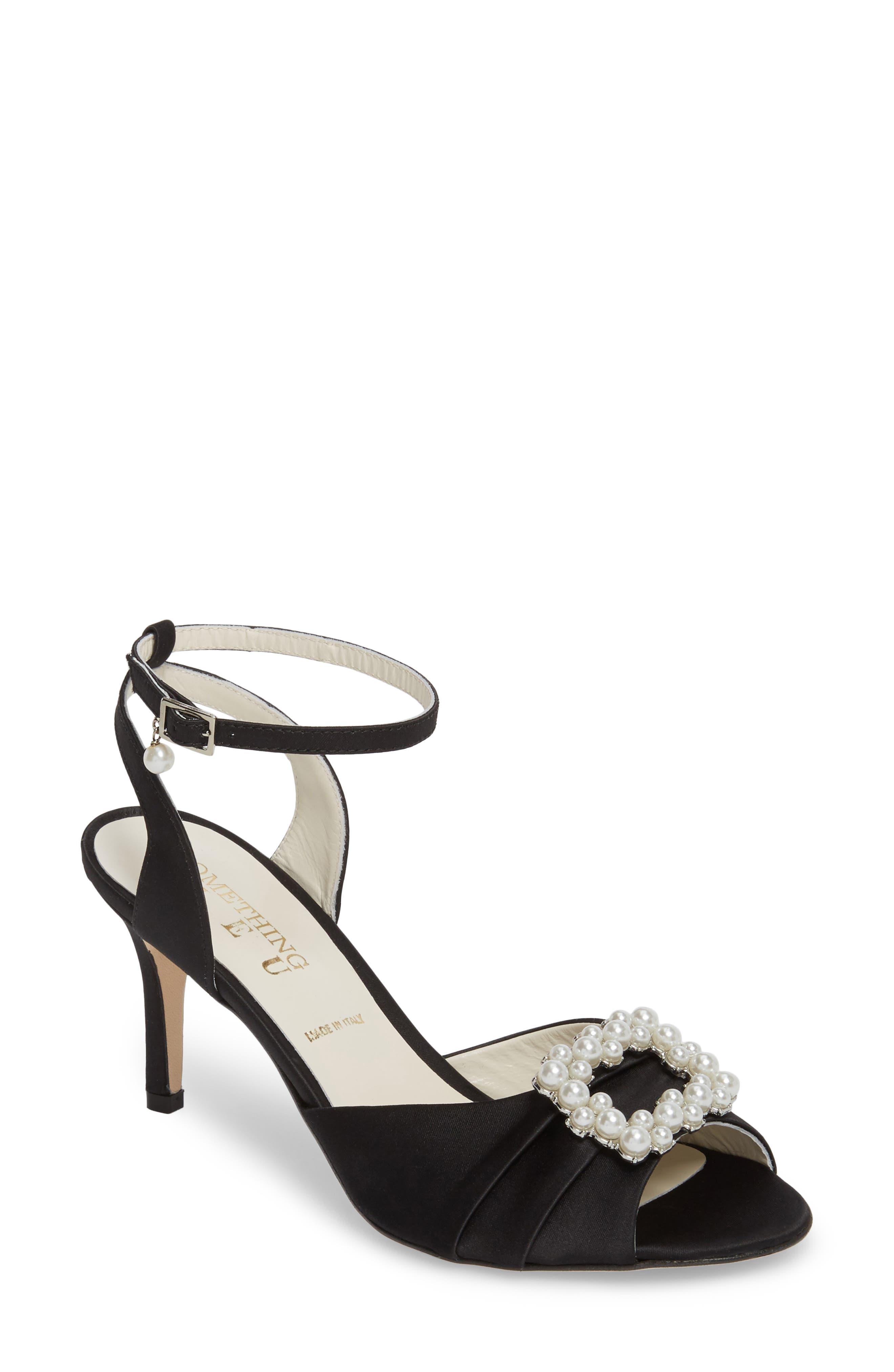 Godiva Imitation Pearl Buckle Sandal,                         Main,                         color, BLACK SATIN