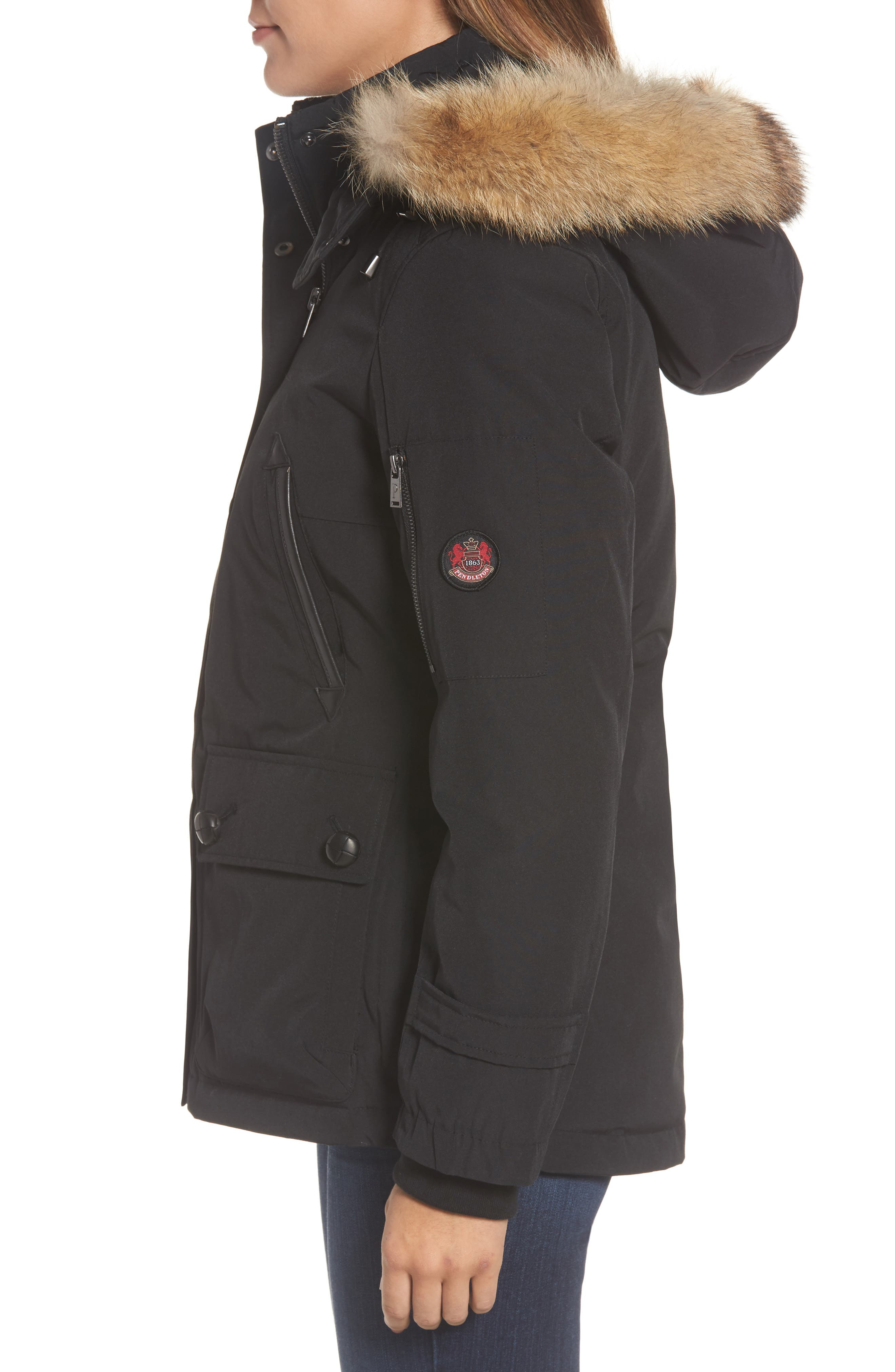 Bachelor Water Repellent Hooded Down Parka with Genuine Coyote Fur Trim,                             Alternate thumbnail 9, color,