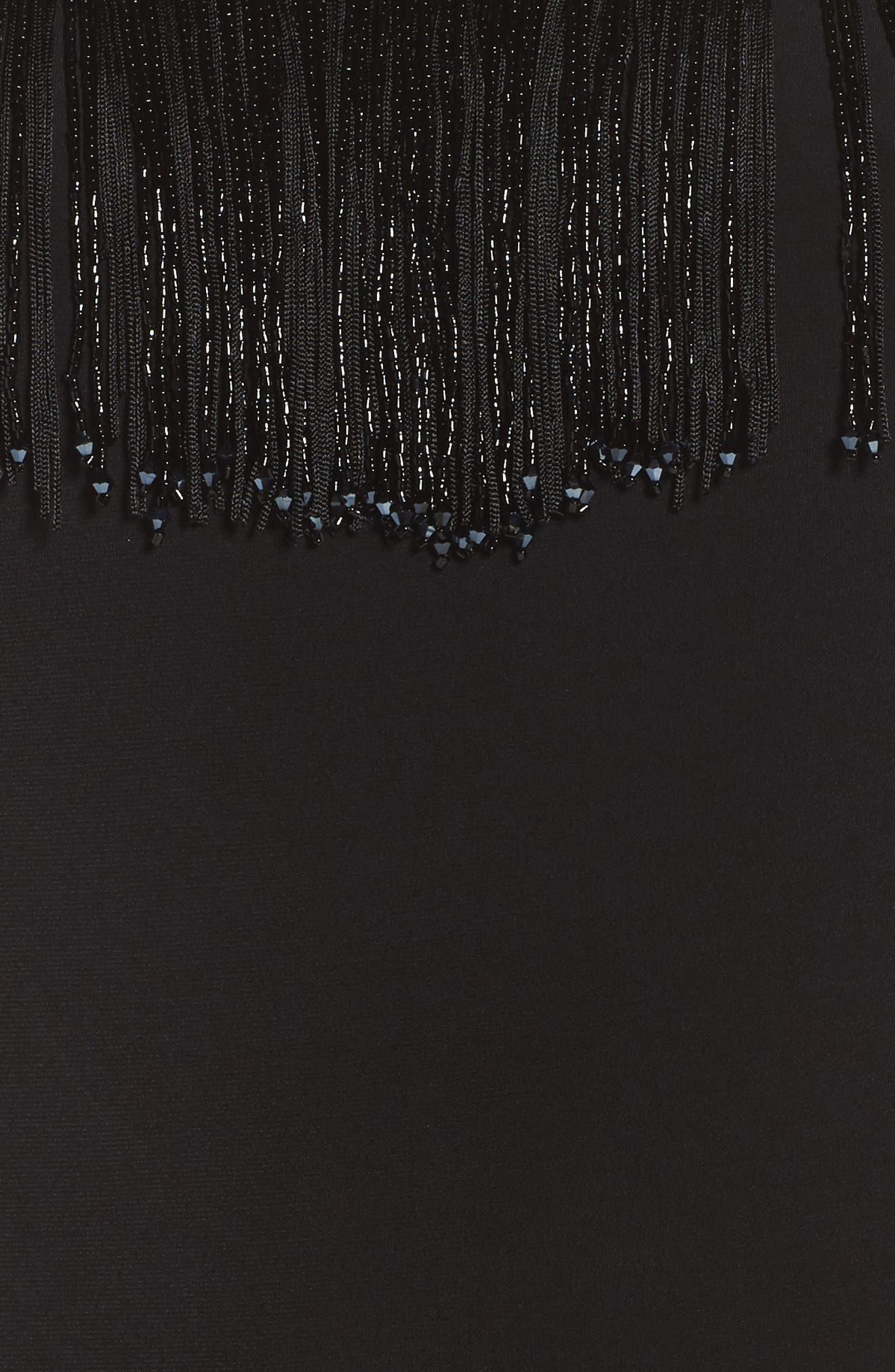 Beaded Fringe Bodice Gown,                             Alternate thumbnail 5, color,                             001