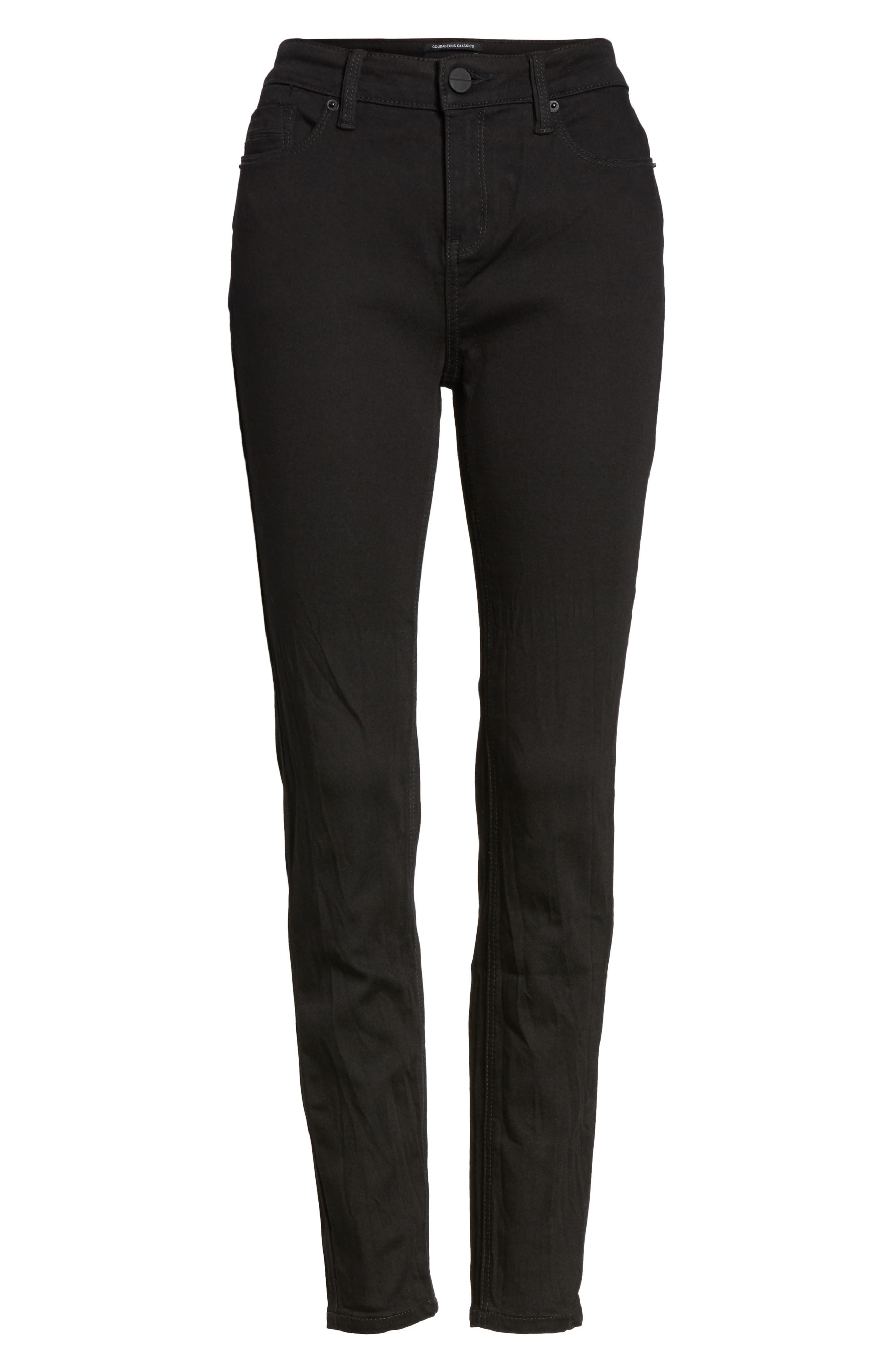 Skinny Jeans,                             Alternate thumbnail 6, color,                             BLACK
