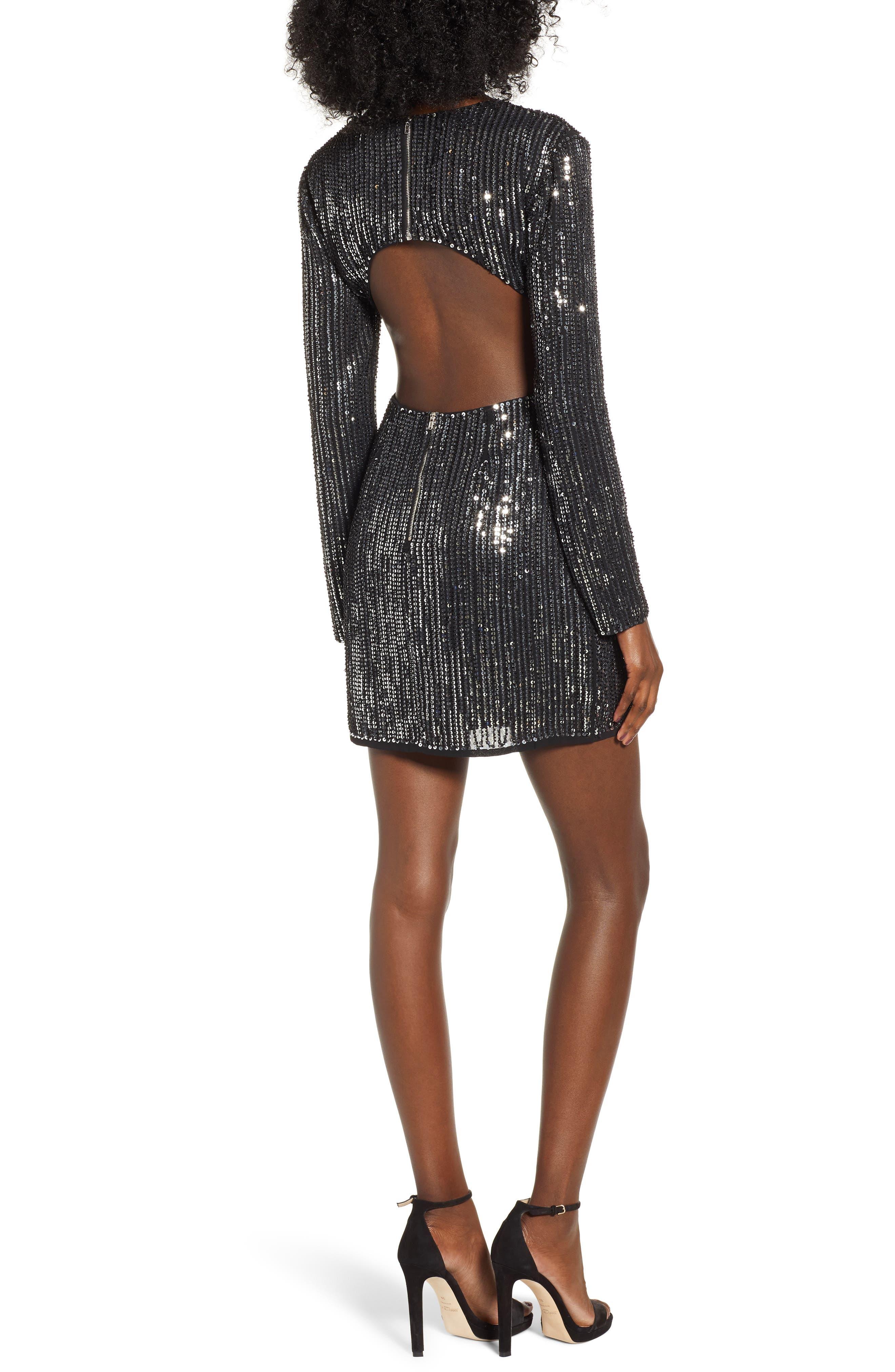 Open Back Sequin Dress,                             Alternate thumbnail 2, color,                             SILVER