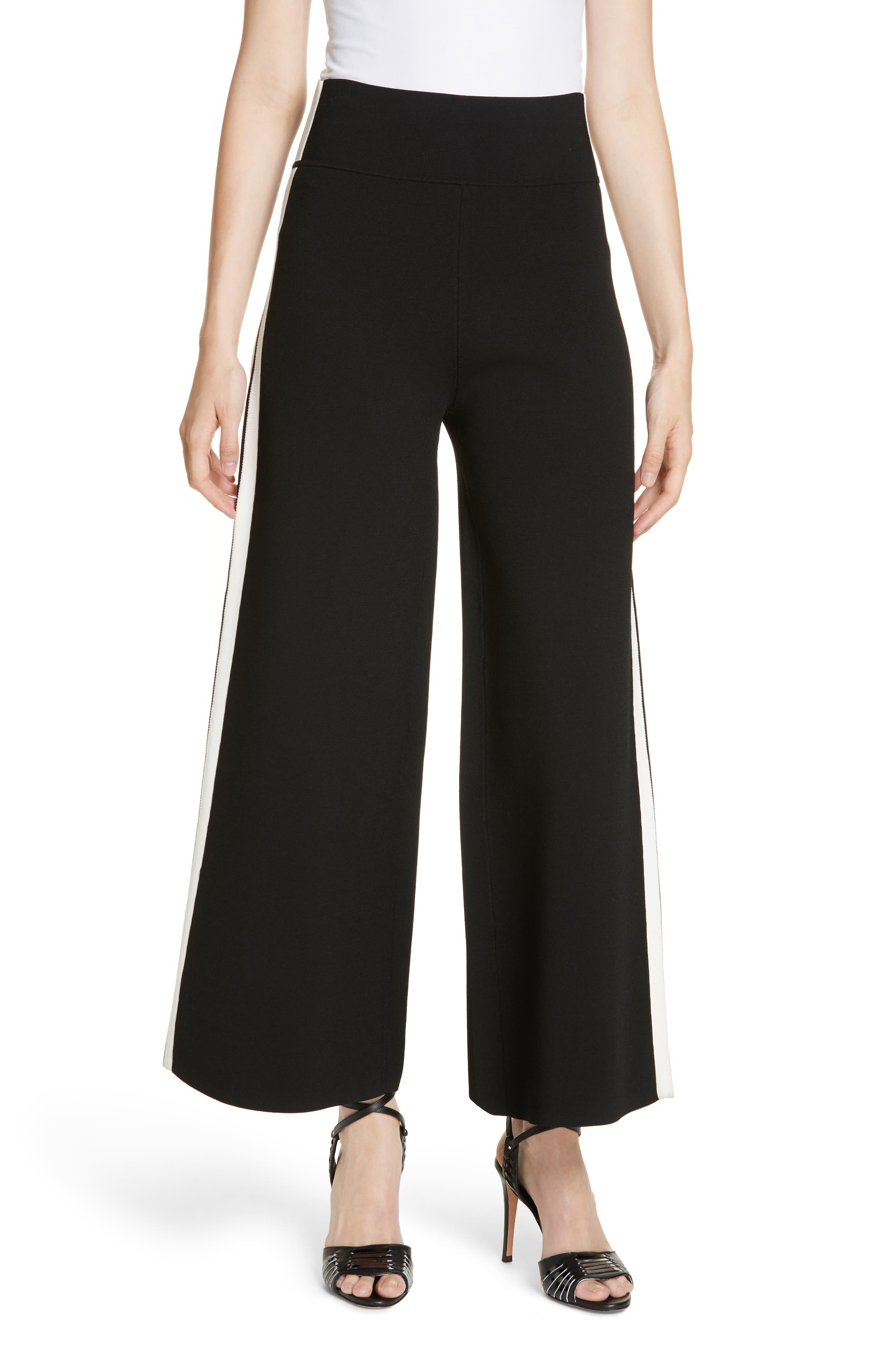 Roland Side Stripe Wide Leg Pants,                         Main,                         color, BLACK