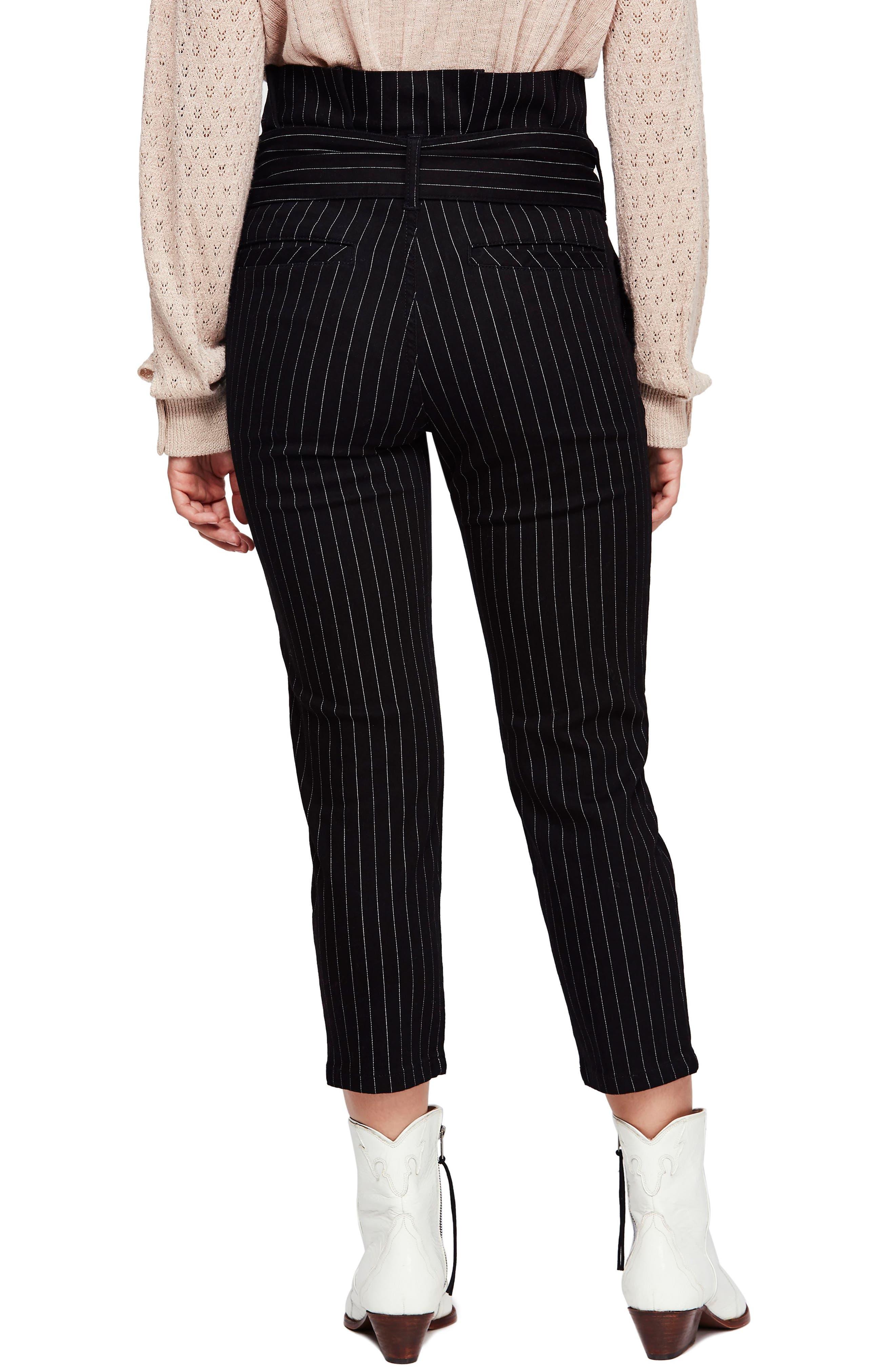 Montella Pinstripe Crop Skinny Pants,                             Alternate thumbnail 2, color,                             BLACK