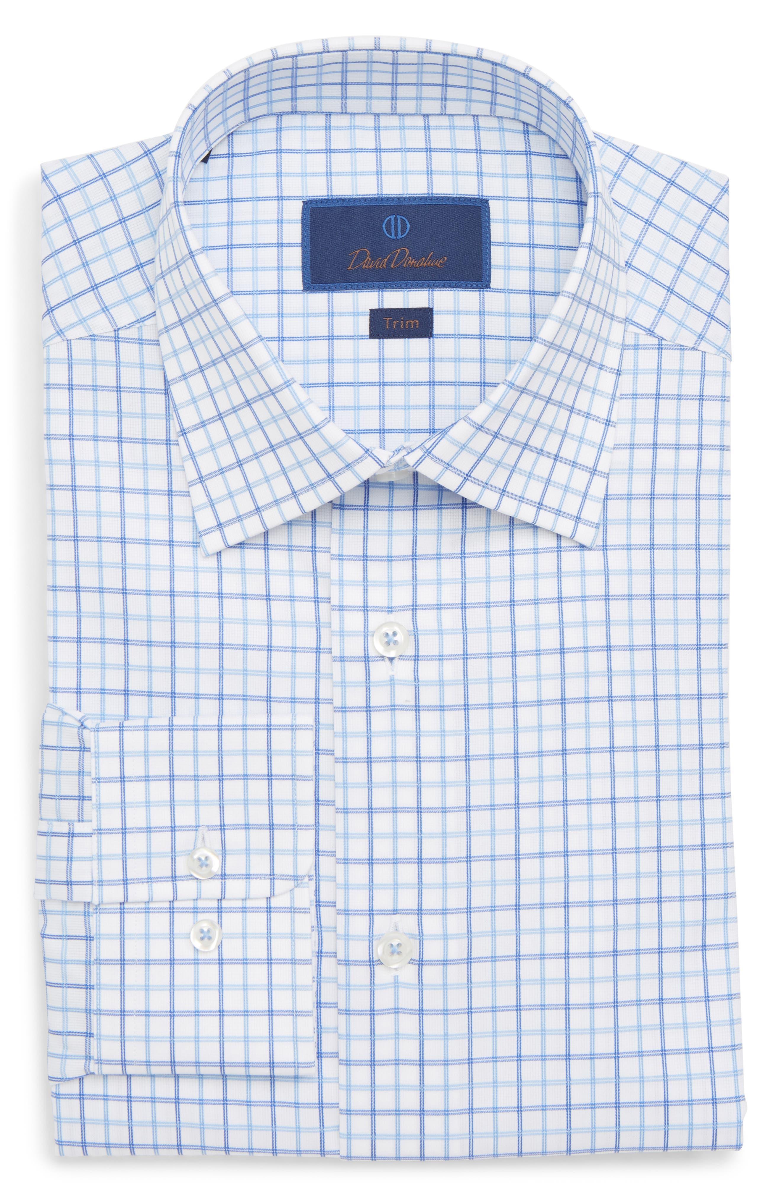 Trim Fit Check Dress Shirt,                             Alternate thumbnail 5, color,                             BLUE