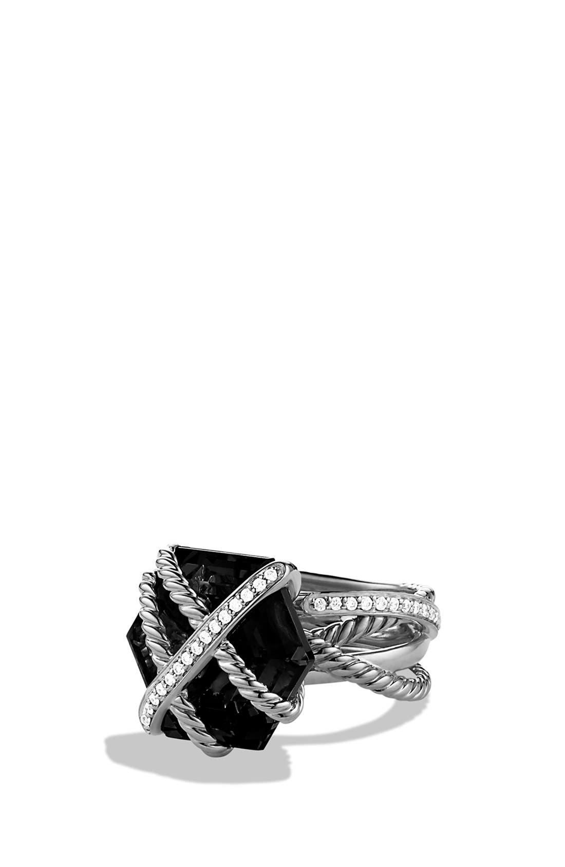 DAVID YURMAN,                             'Cable Wrap' Ring with Black Onyx and Diamonds,                             Main thumbnail 1, color,                             001