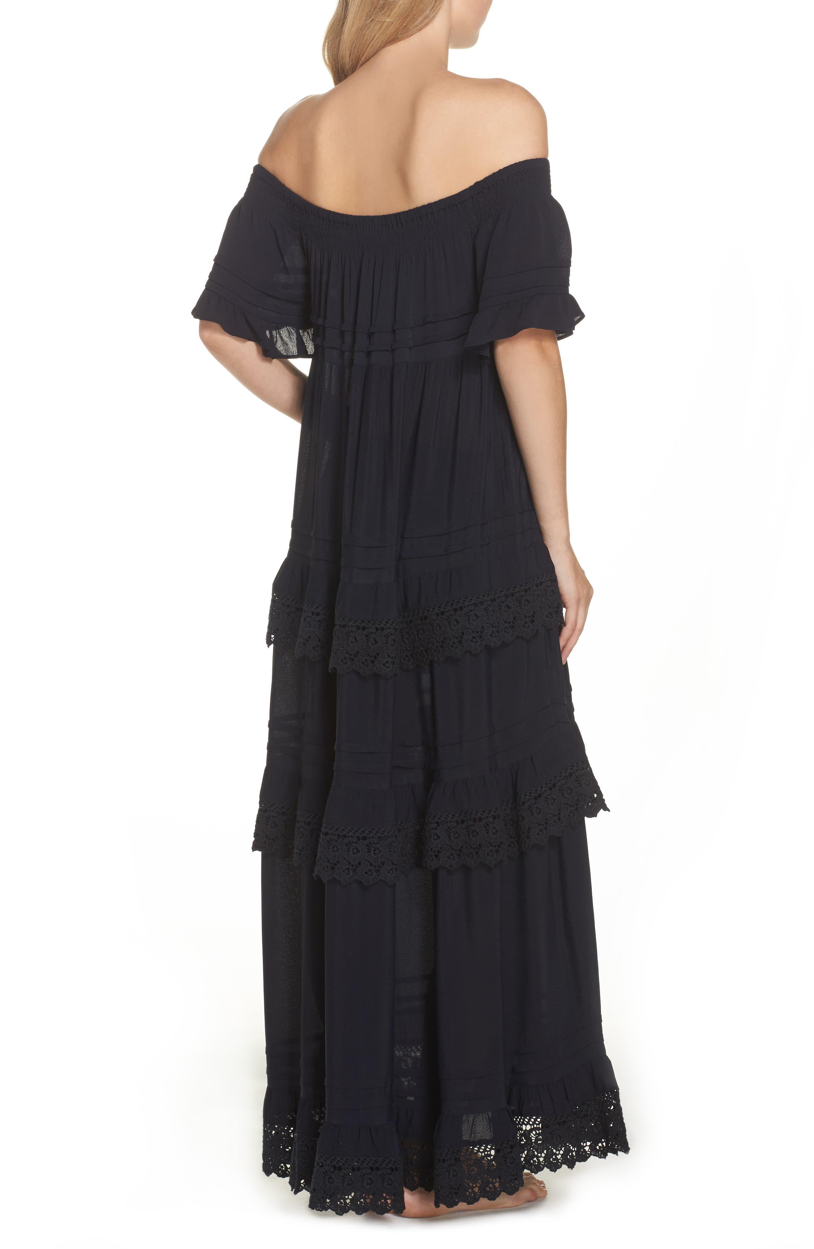Esmerelda Off the Shoulder Cover-Up Maxi Dress,                             Alternate thumbnail 3, color,