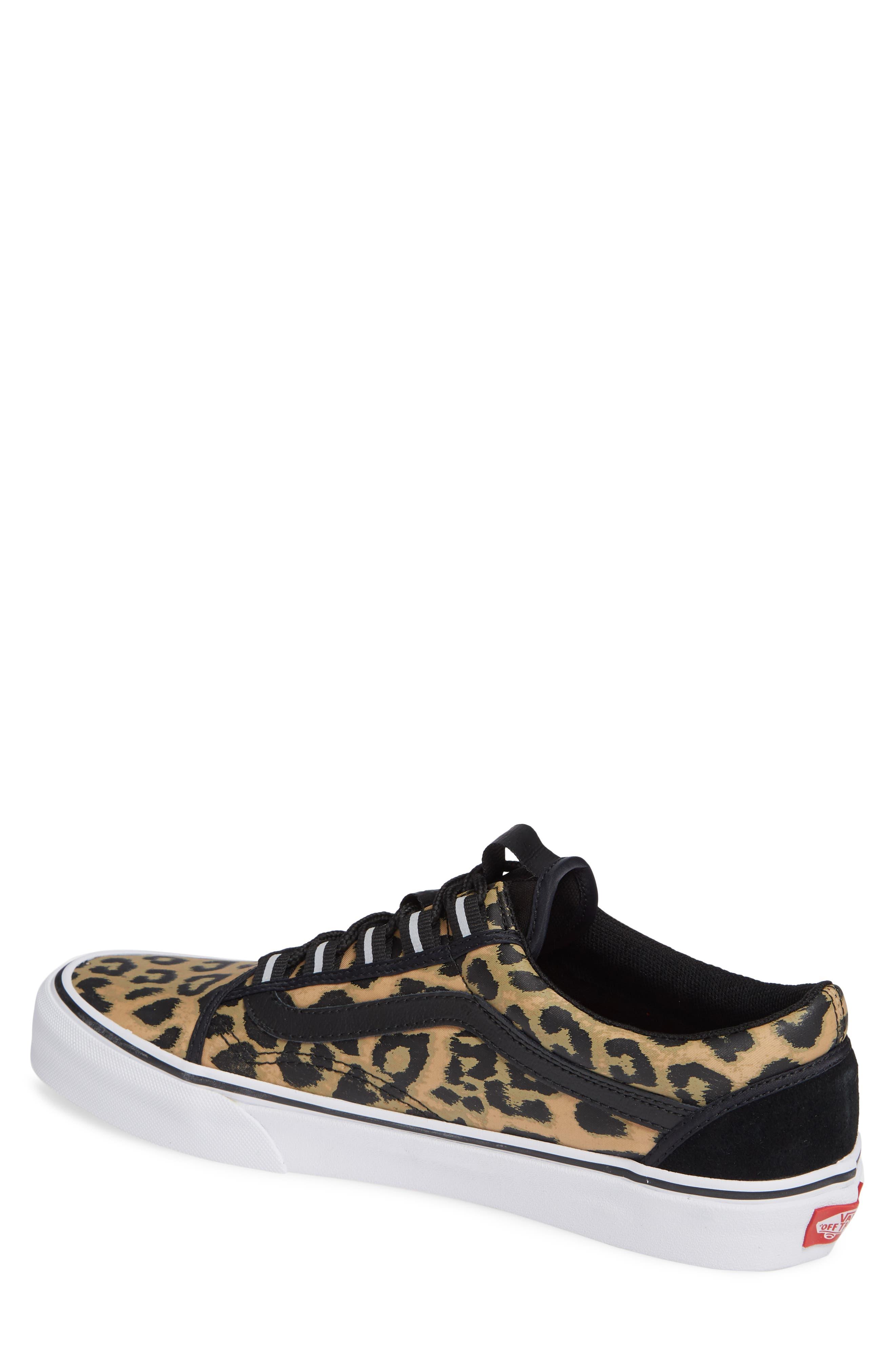 Old Skool Ghillie Sneaker,                             Alternate thumbnail 2, color,                             BLACK NYLON/ LEOPARD NYLON