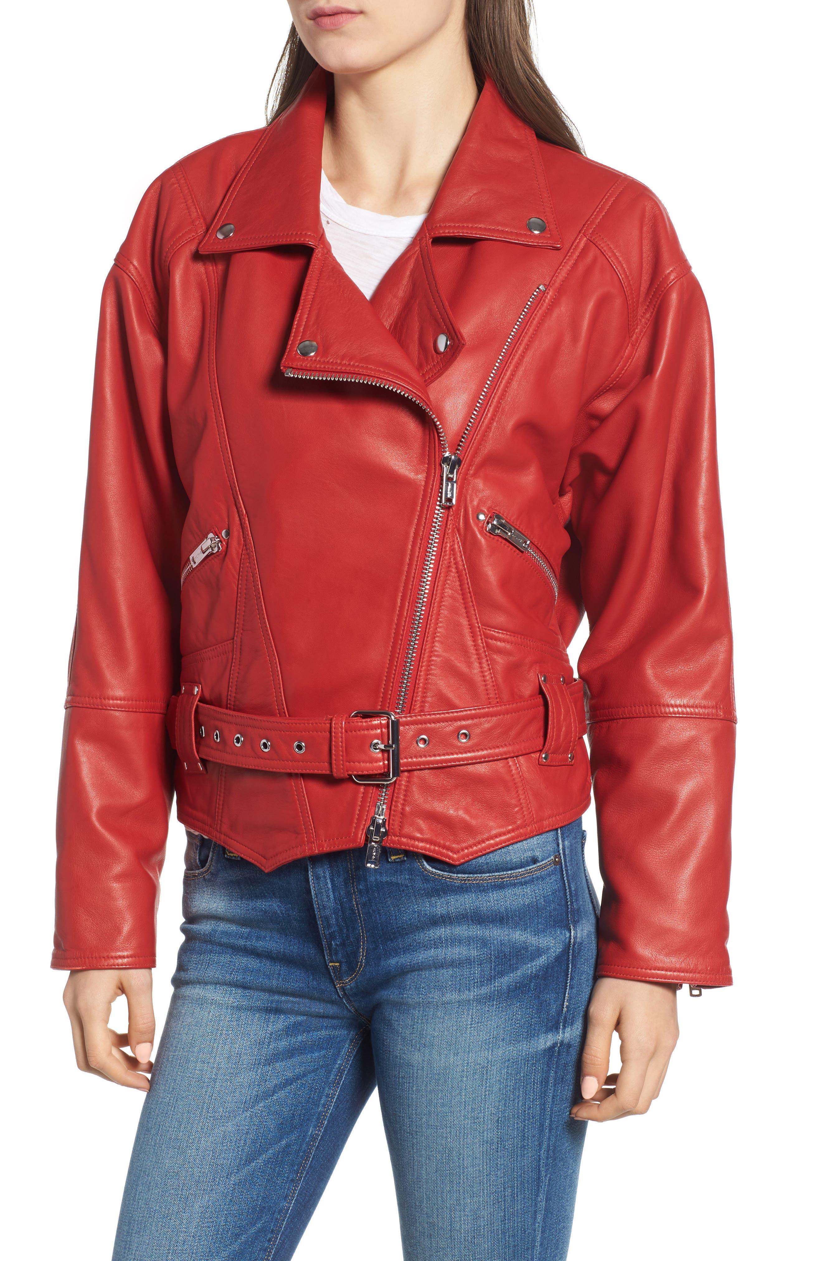 Leather Jacket,                             Alternate thumbnail 4, color,                             RIOT