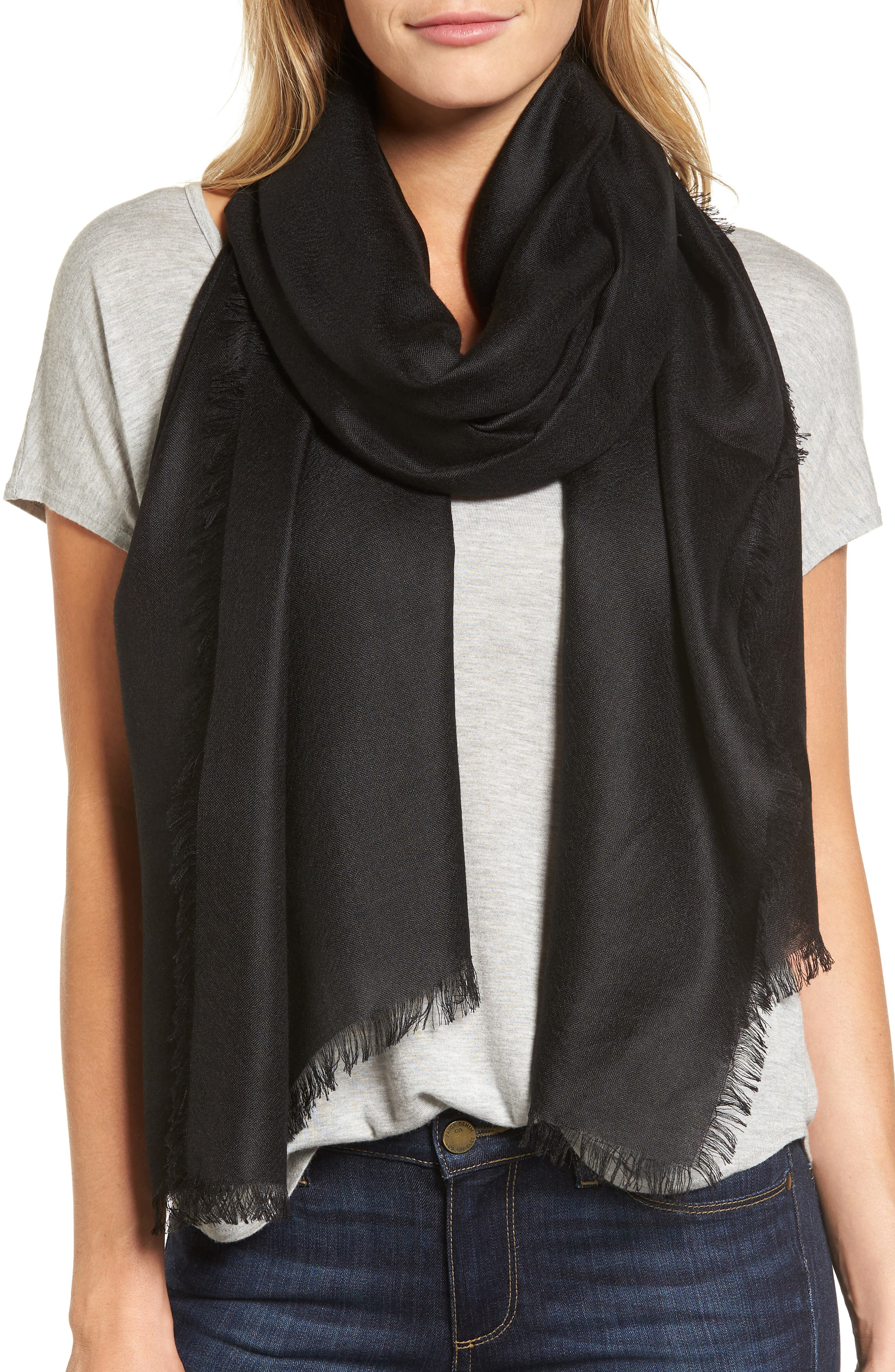 Cashmere & Silk Wrap,                         Main,                         color, BLACK