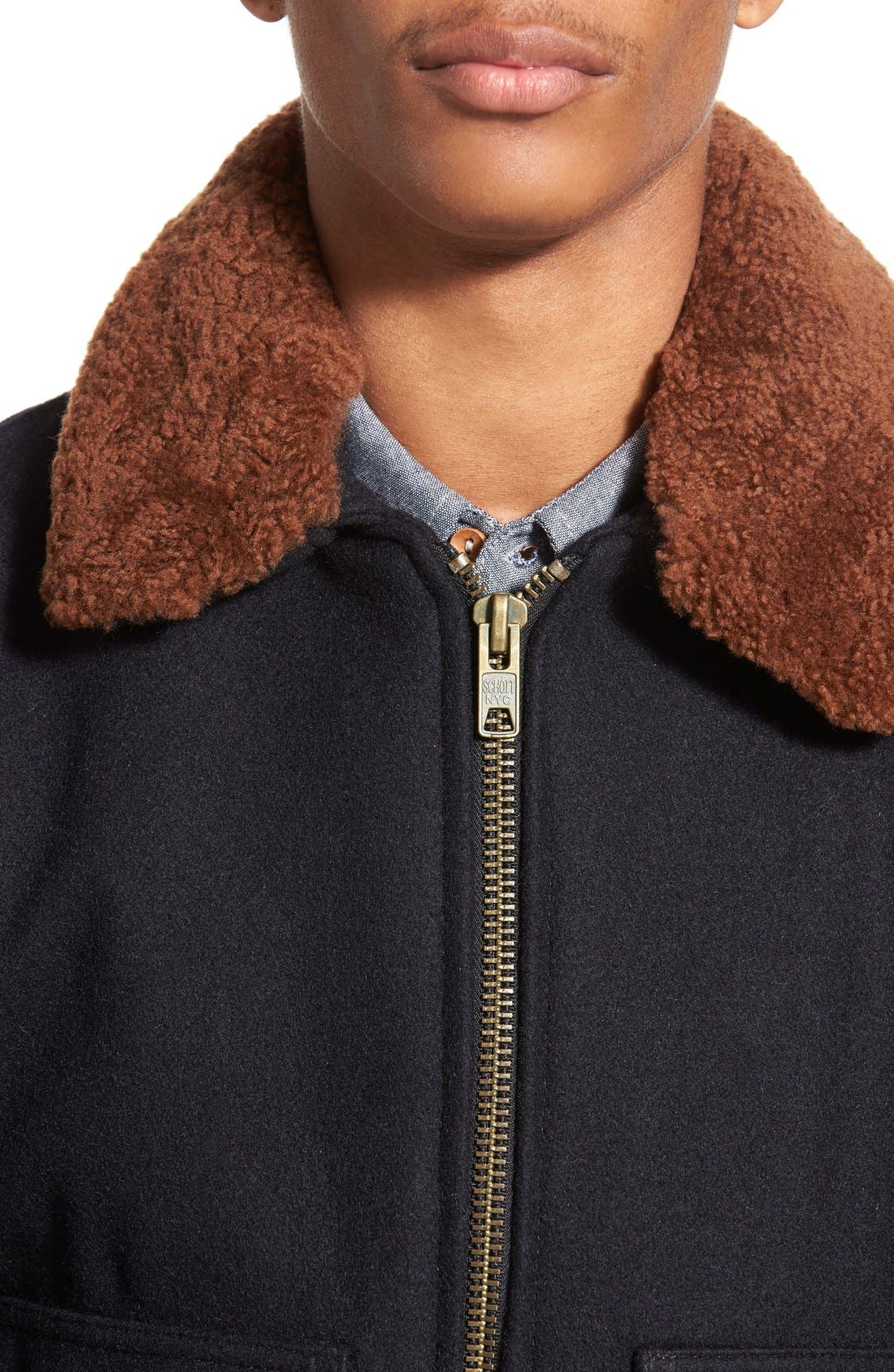 SchottNYC'G-1' Zip Front Bomber with Genuine Shearling Collar,                             Alternate thumbnail 11, color,                             410