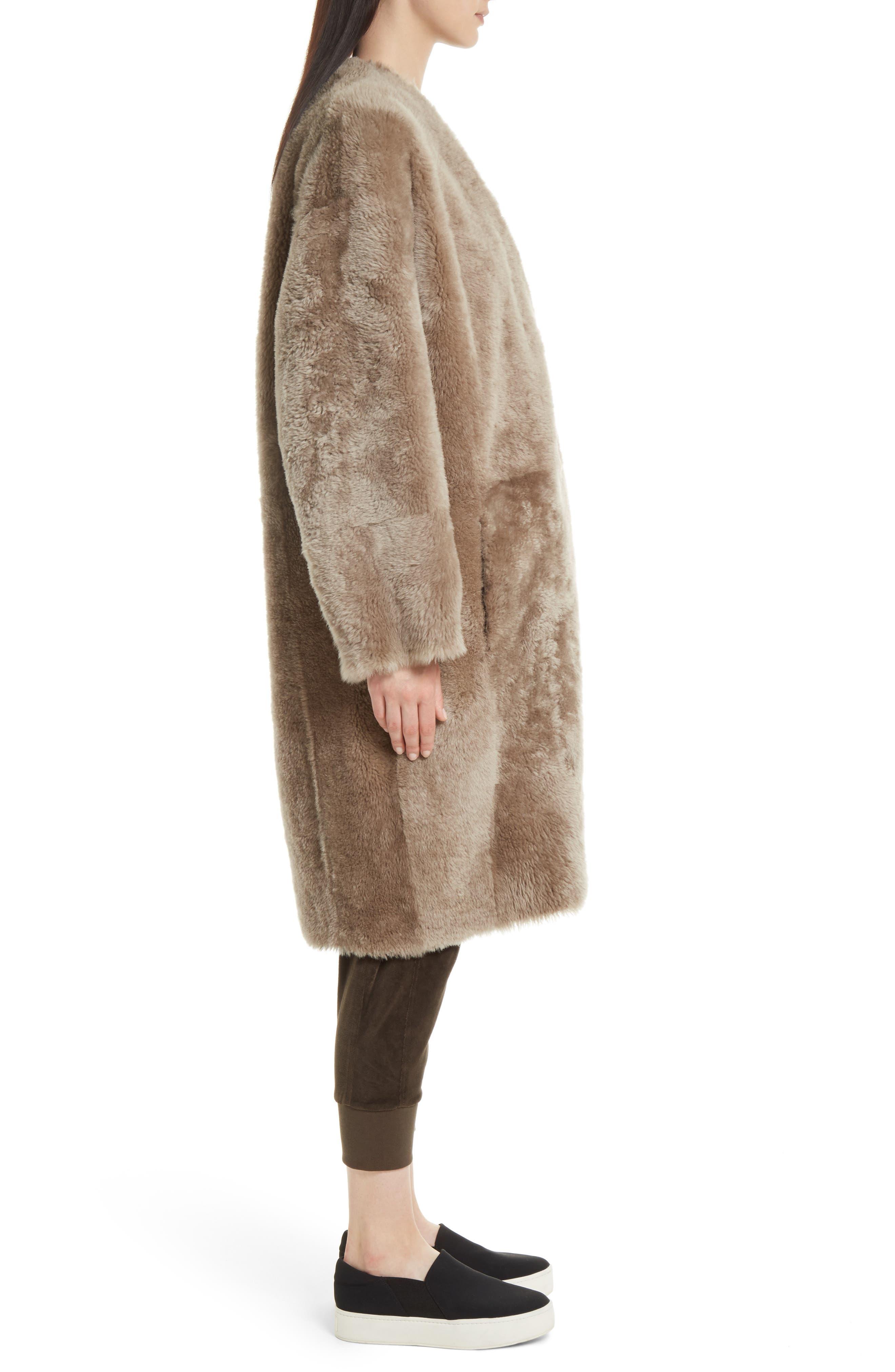 Genuine Shearling Reversible Coat,                             Alternate thumbnail 4, color,                             208