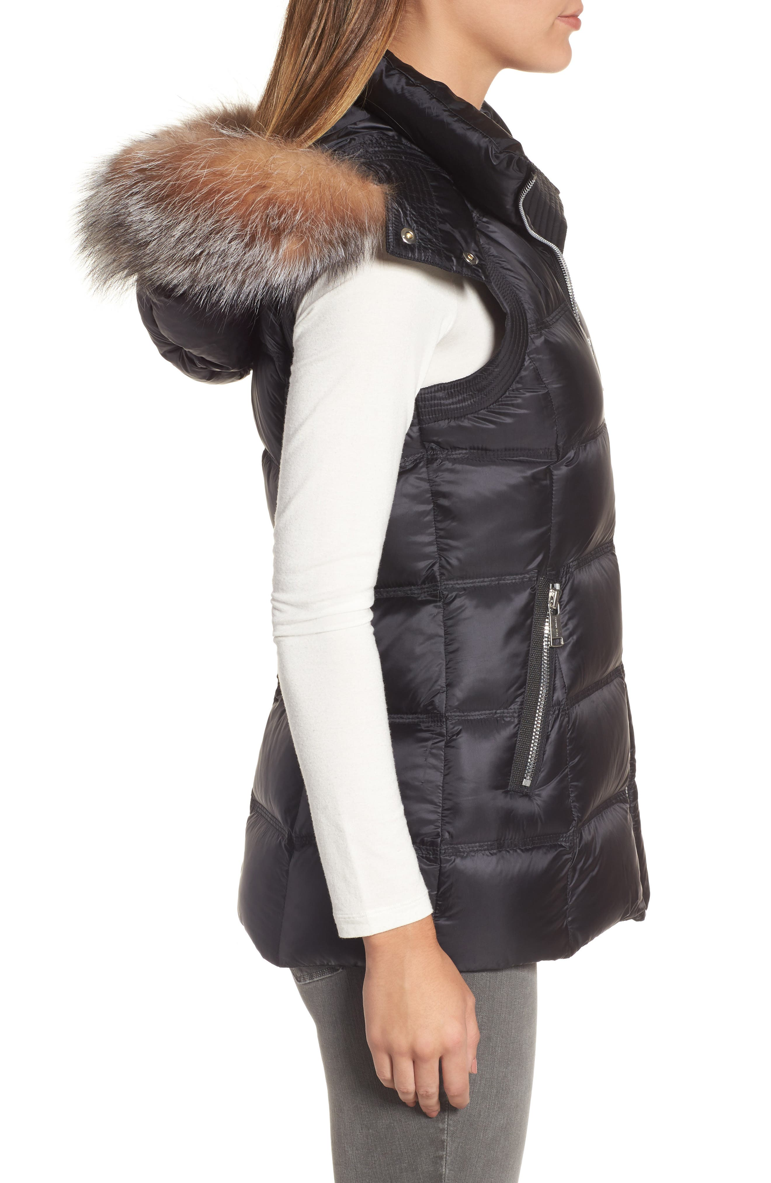 Claire 28 Water Resistant Hooded Down Vest with Genuine Fox Fur Trim,                             Alternate thumbnail 3, color,                             001