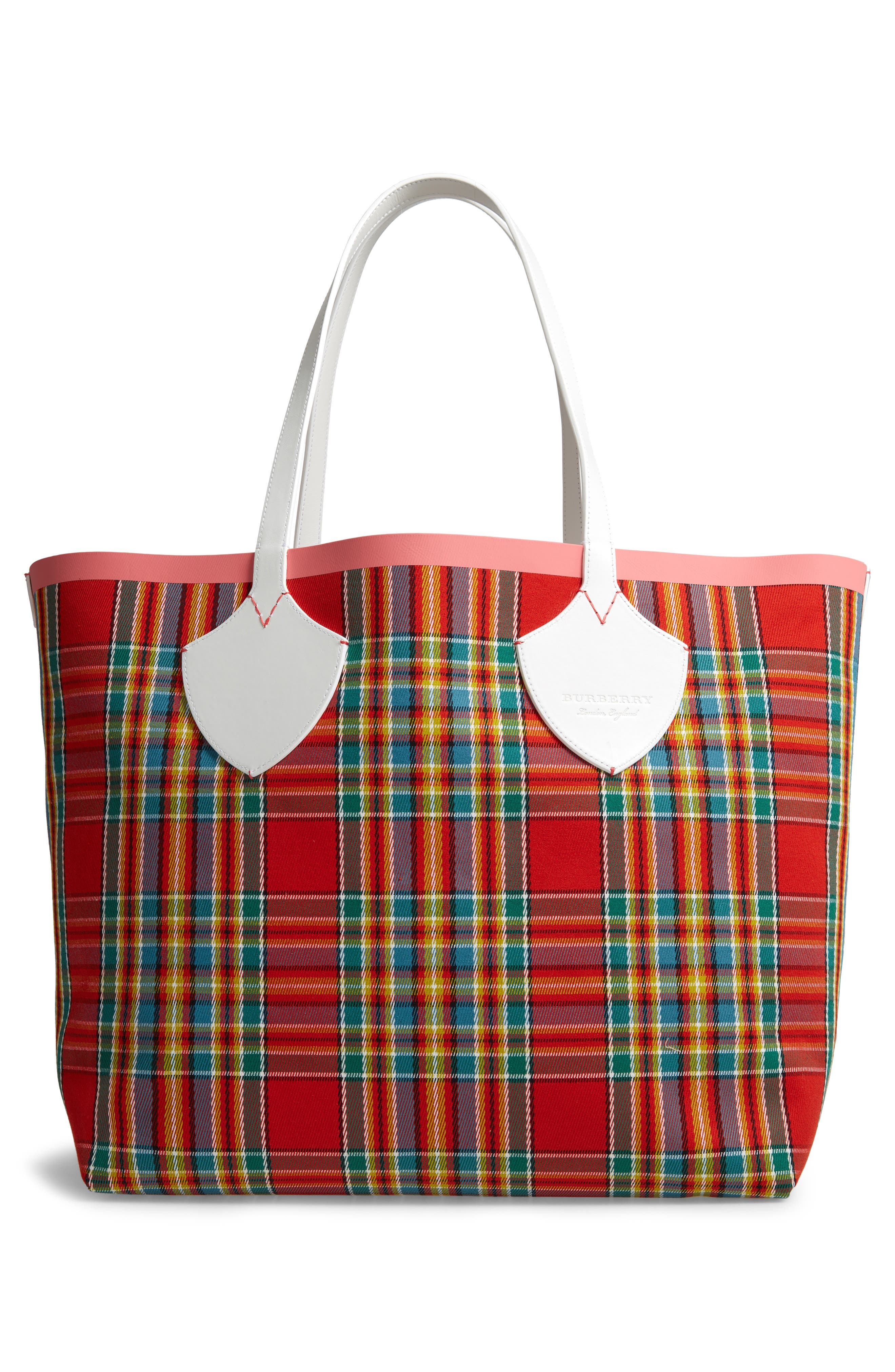 Giant Check Reversible Tote,                             Alternate thumbnail 3, color,                             BEIGE/ PINK/ CHALK WHITE