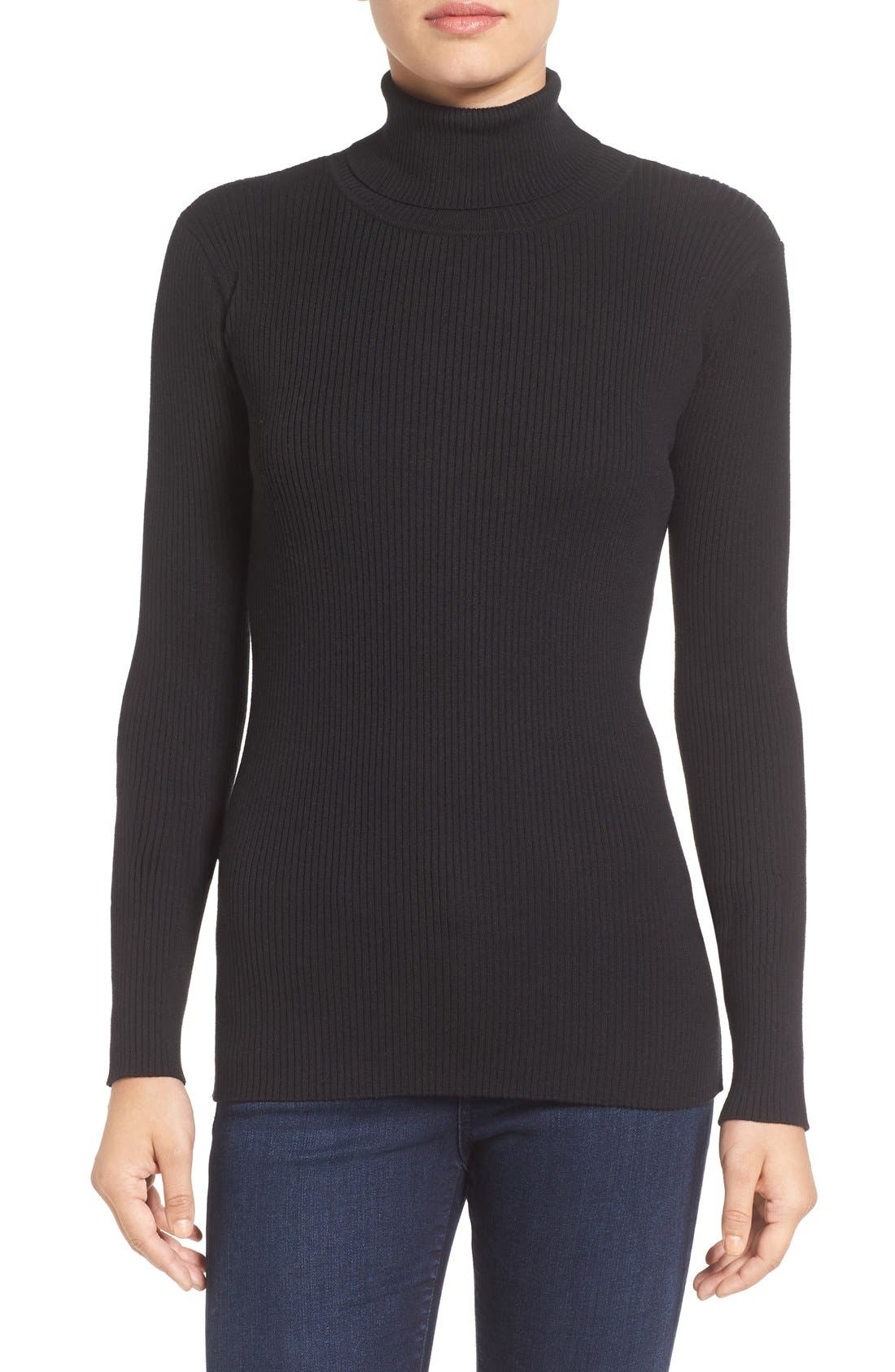 Ribbed Cotton Turtleneck Sweater,                             Main thumbnail 1, color,                             006