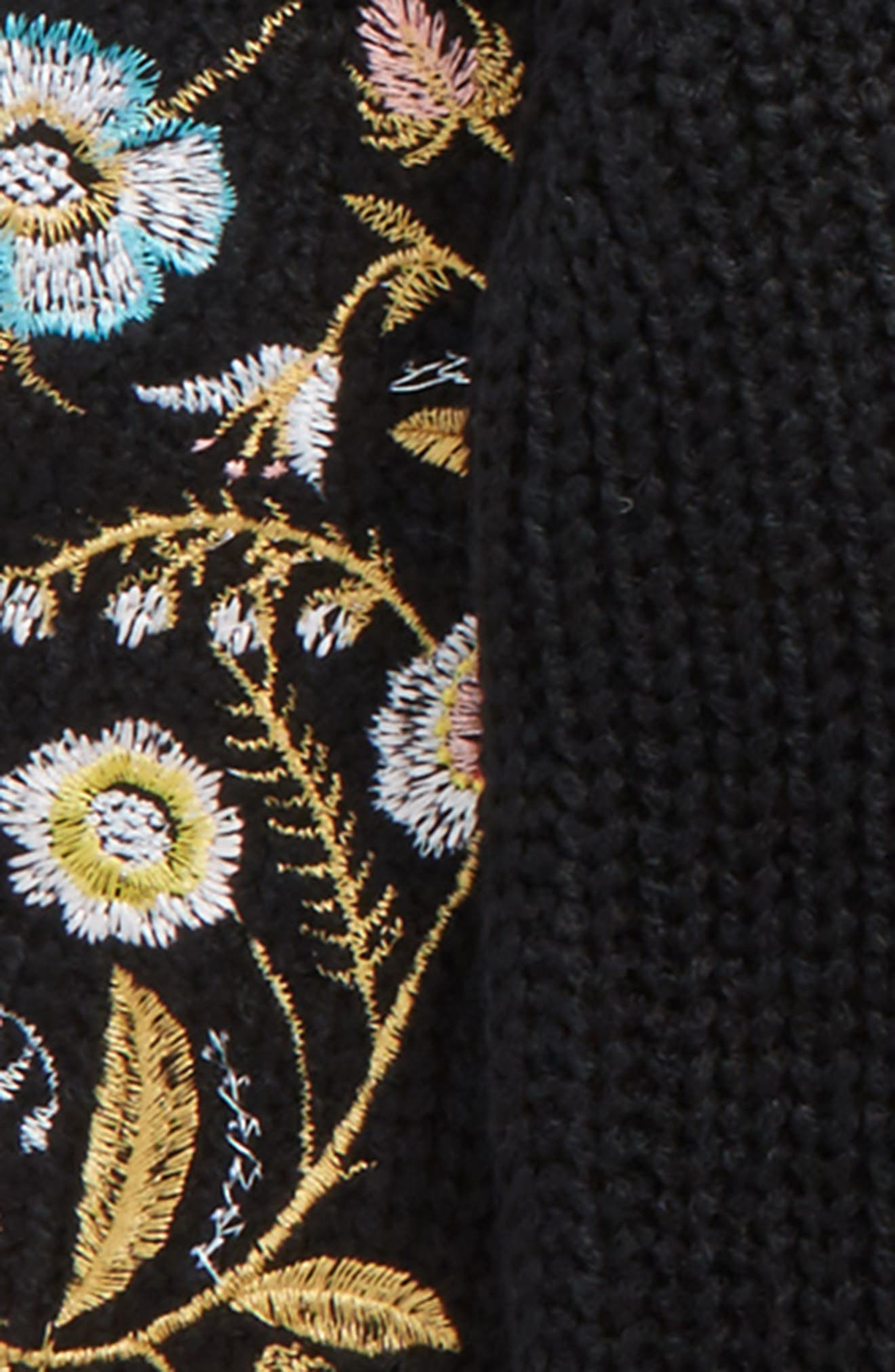 Embroidered Sleeve Sweater,                             Alternate thumbnail 2, color,                             001