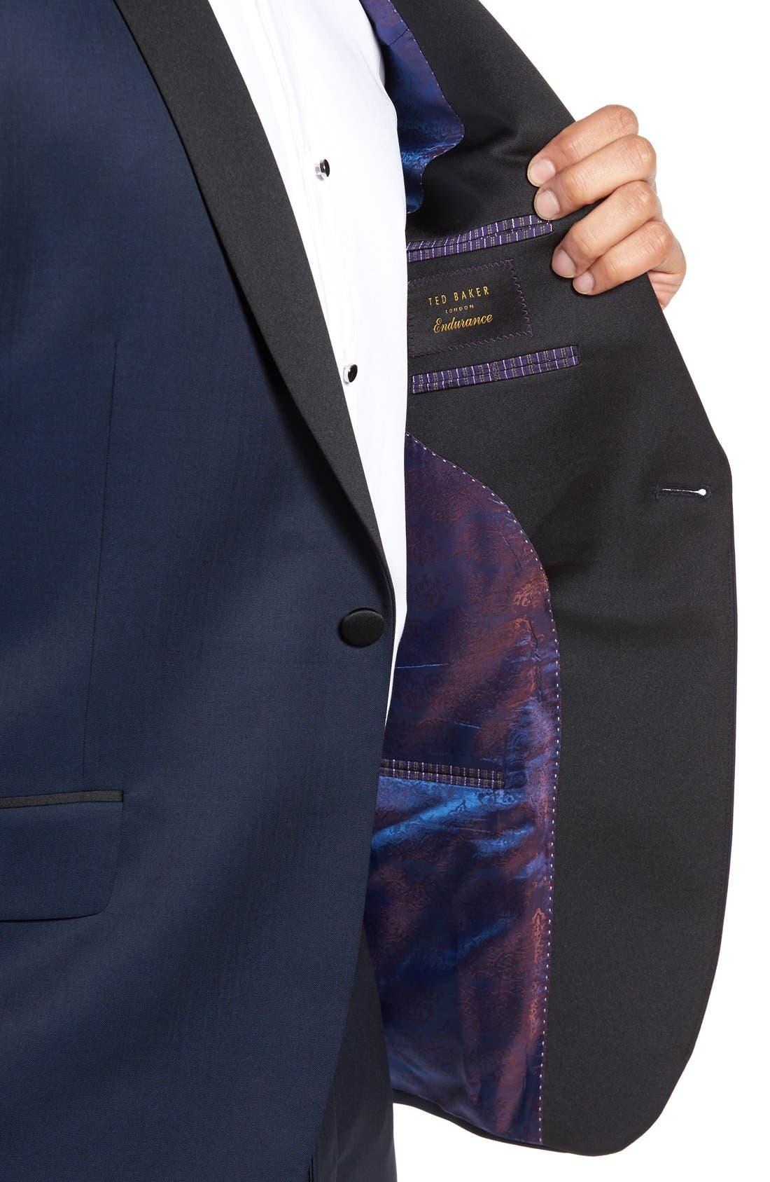 'Josh' Trim Fit Navy Shawl Lapel Tuxedo,                             Alternate thumbnail 5, color,                             NAVY BLUE