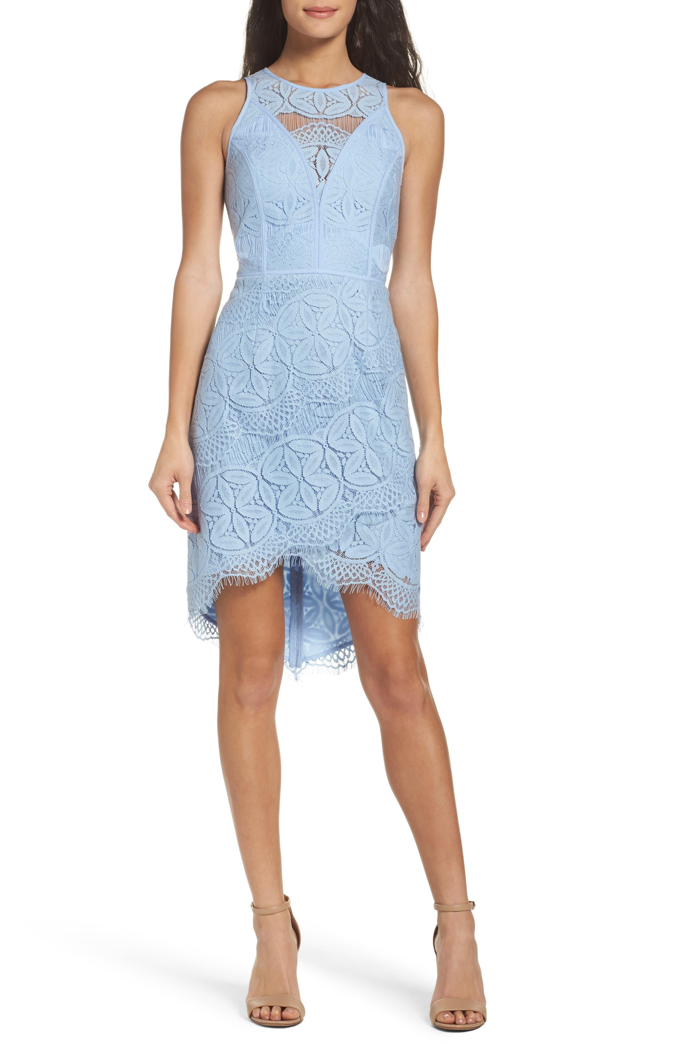 Lace High/Low Sheath Dress,                             Main thumbnail 6, color,