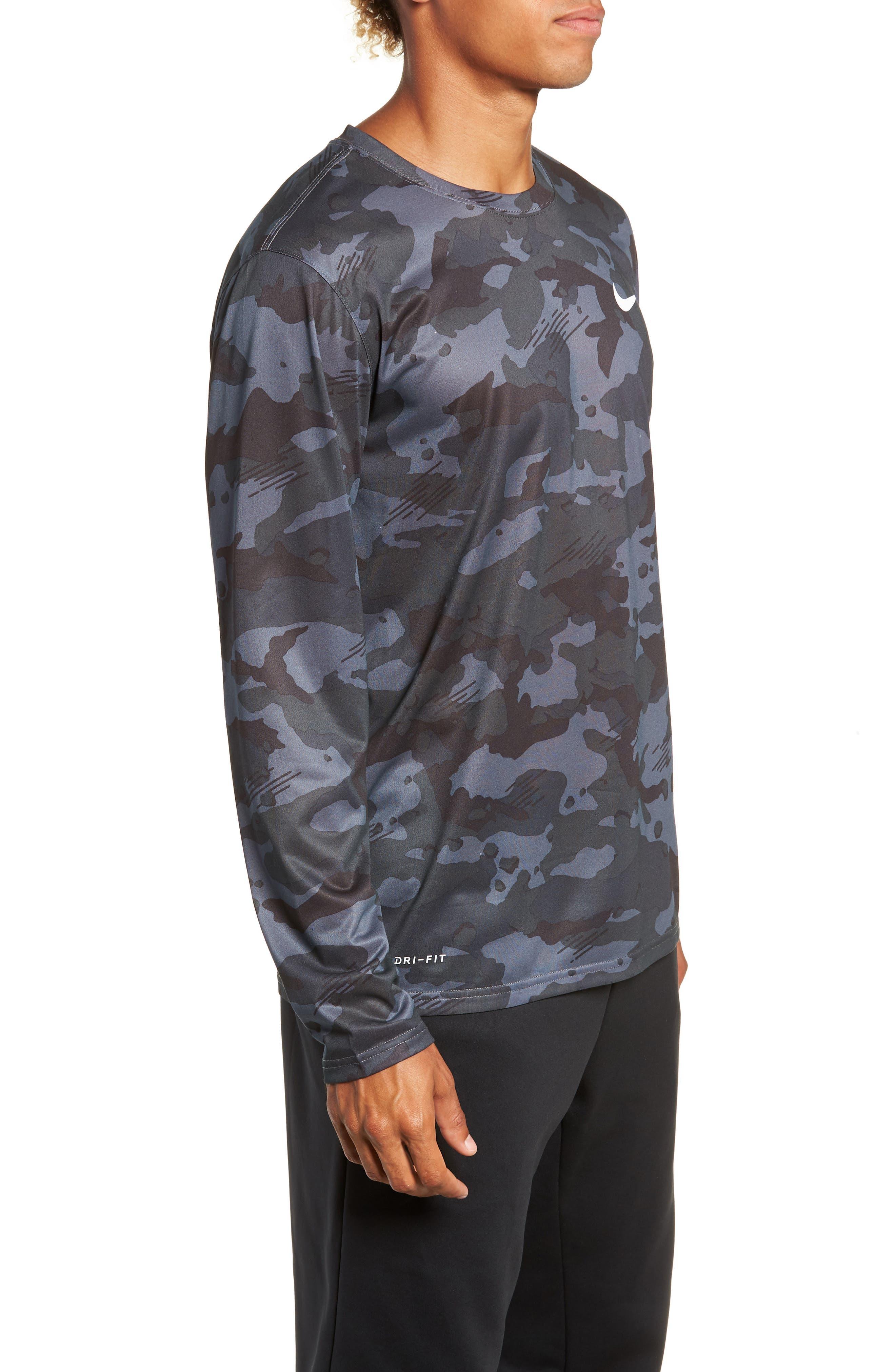 Dry Long Sleeve Camo T-Shirt,                             Alternate thumbnail 3, color,                             DARK GREY/ WHITE
