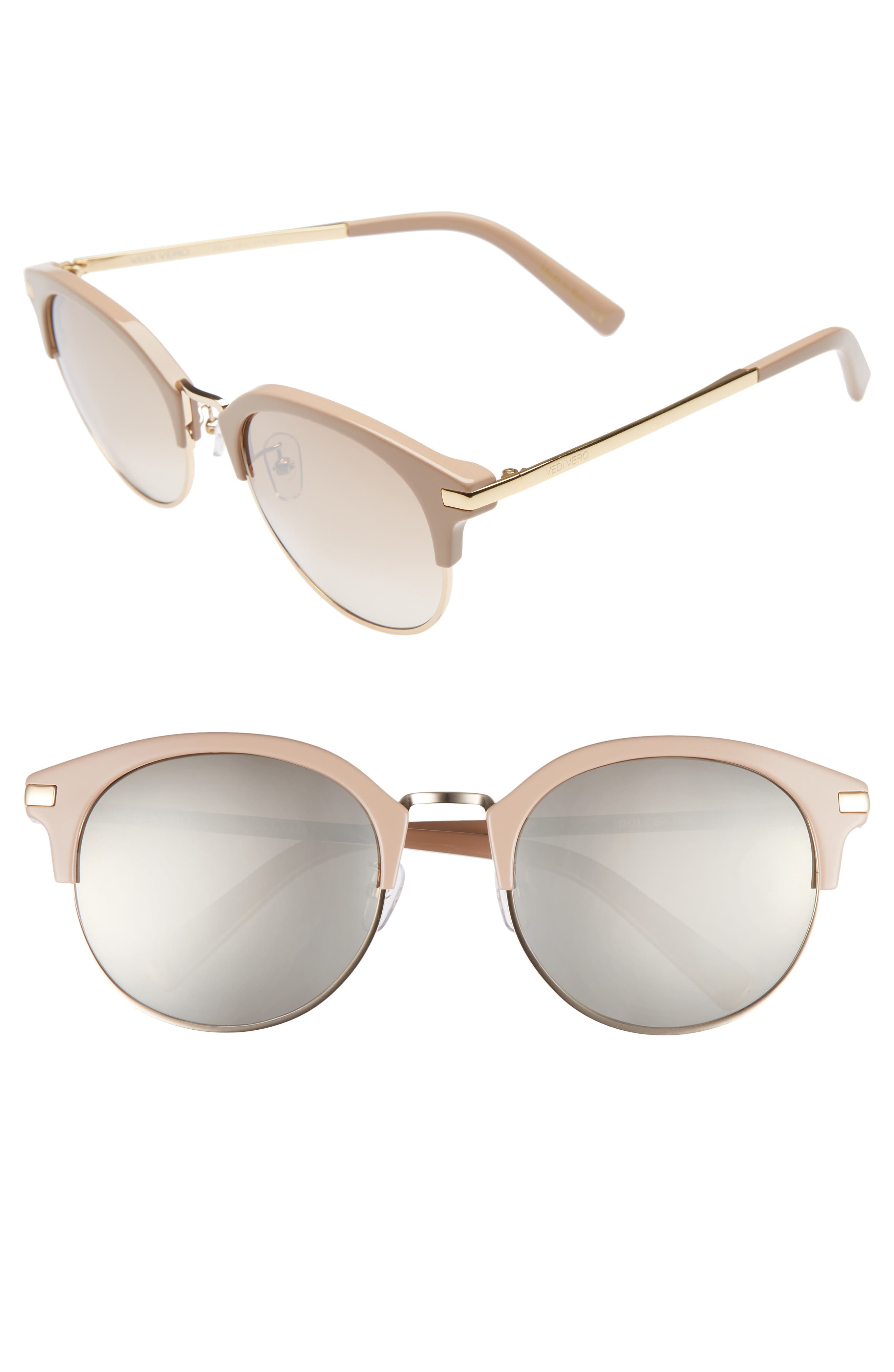 56mm Round Sunglasses,                         Main,                         color, GOLD AND BEIGE/GRADIENT BROWN