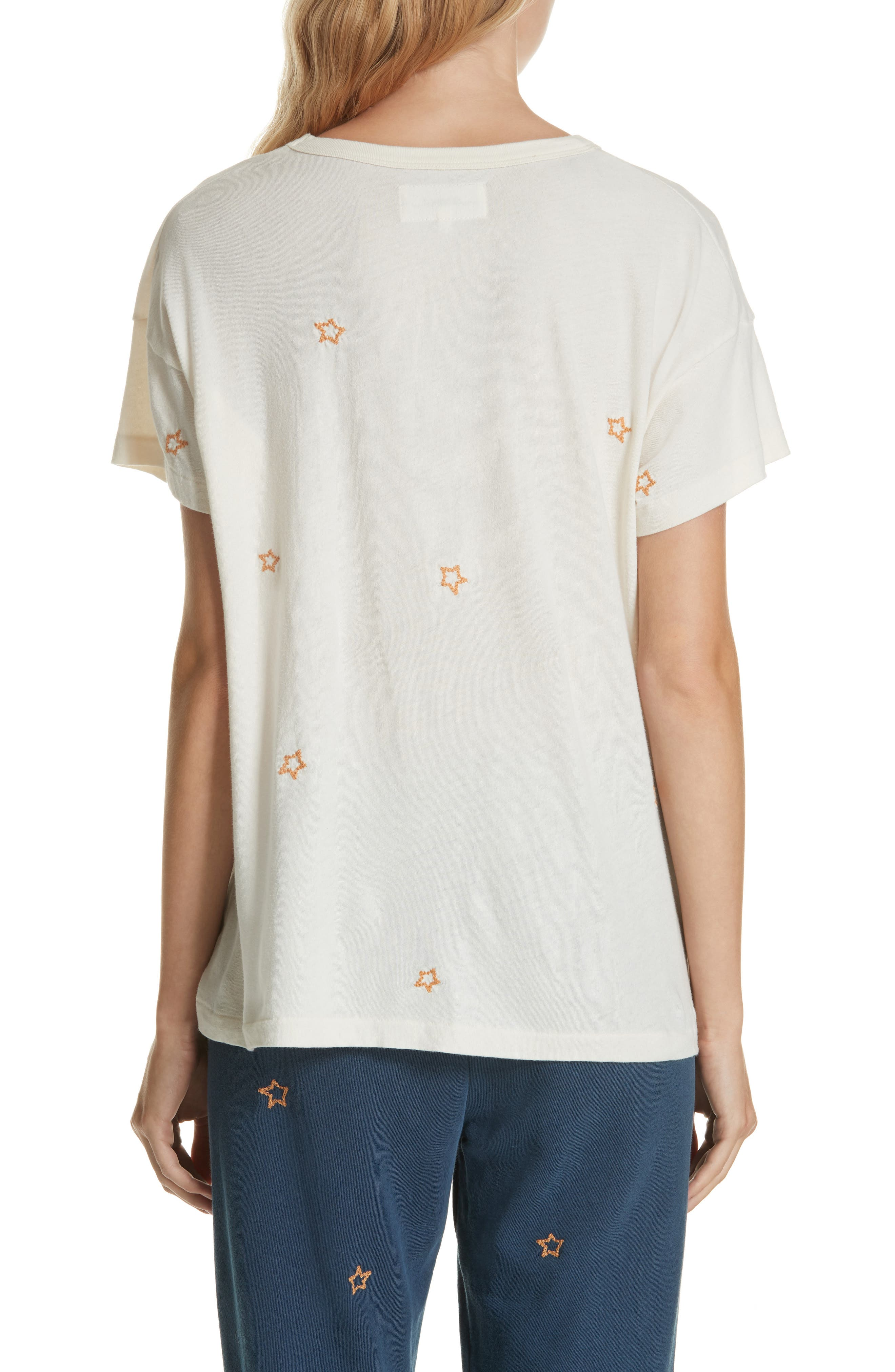 The Embroidered Boxy Crew Tee,                             Alternate thumbnail 2, color,                             WASHED WHITE W/ STAR EMB