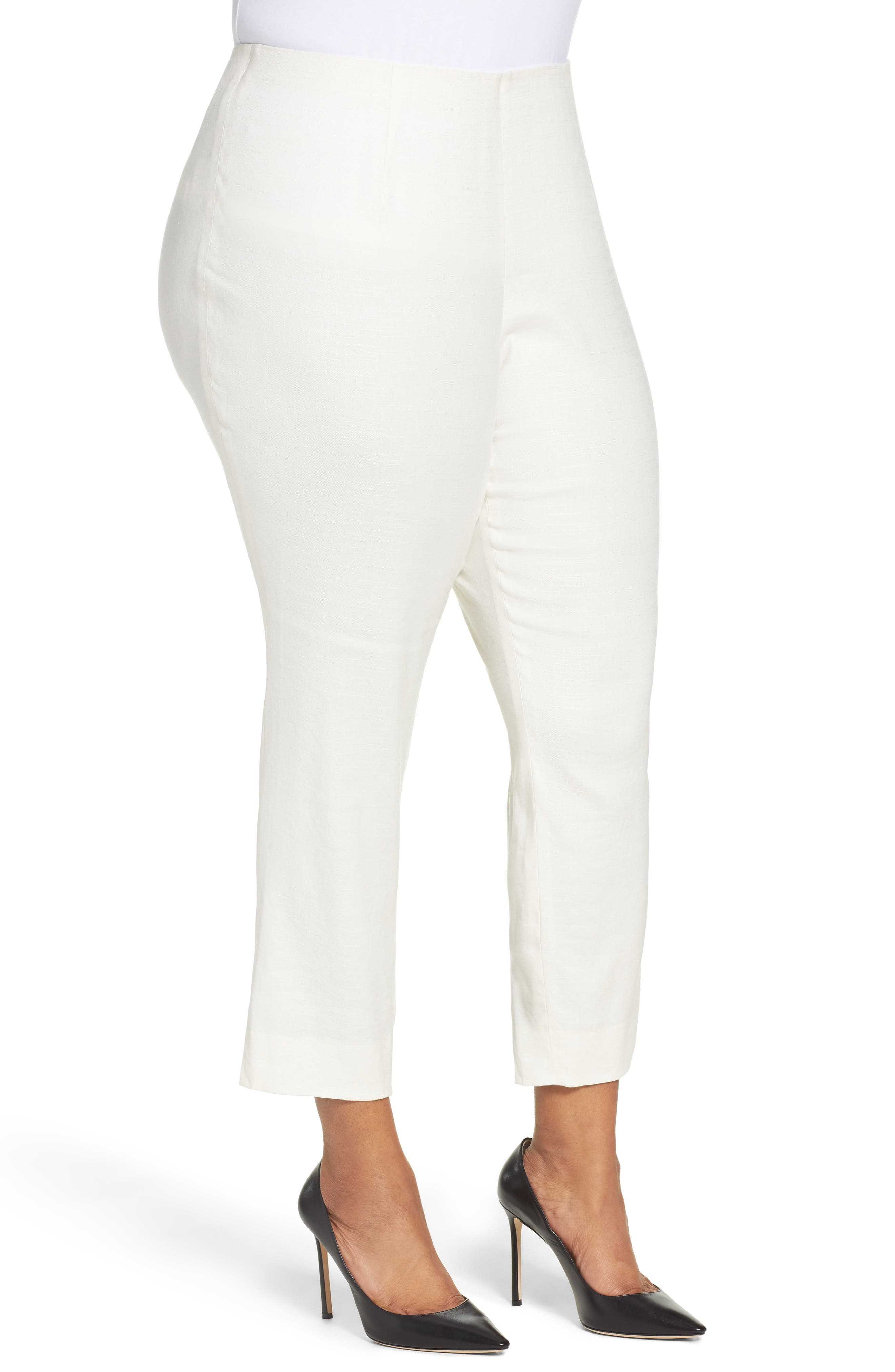 Luxe Linen Blend Pants,                             Alternate thumbnail 3, color,                             BONE