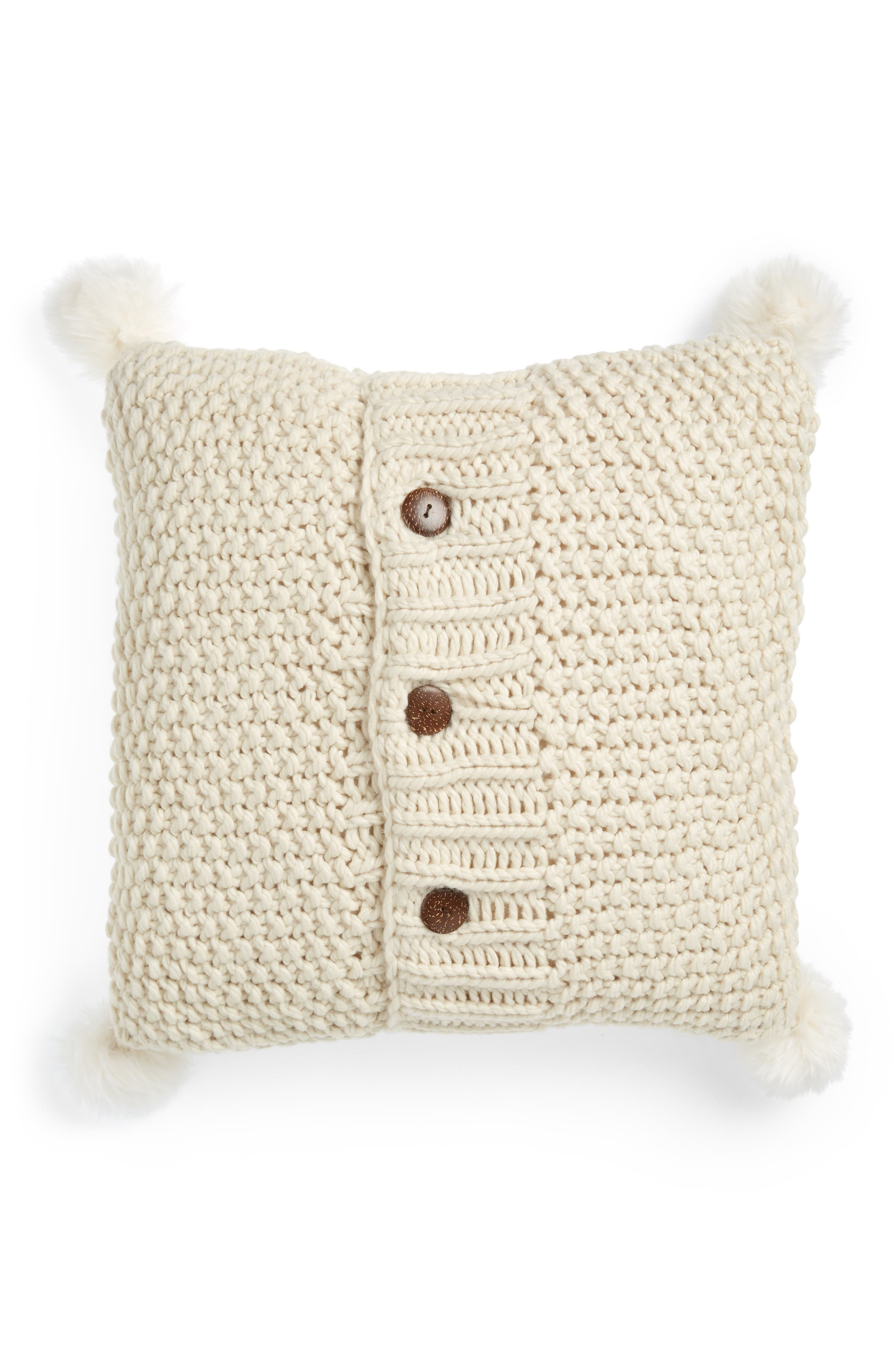 Knit Accent Pillow with Faux Fur Poms,                         Main,                         color, IVORY