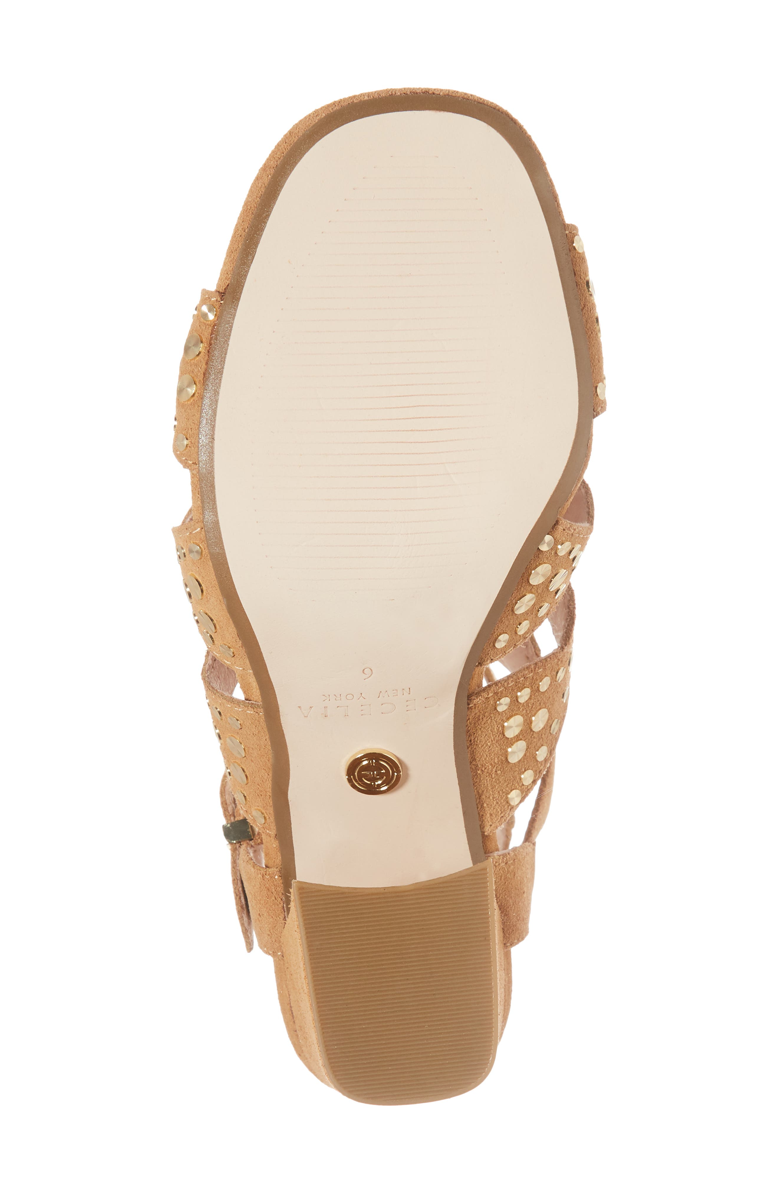 Cosmo Studded Sandal,                             Alternate thumbnail 6, color,                             SAND SUEDE