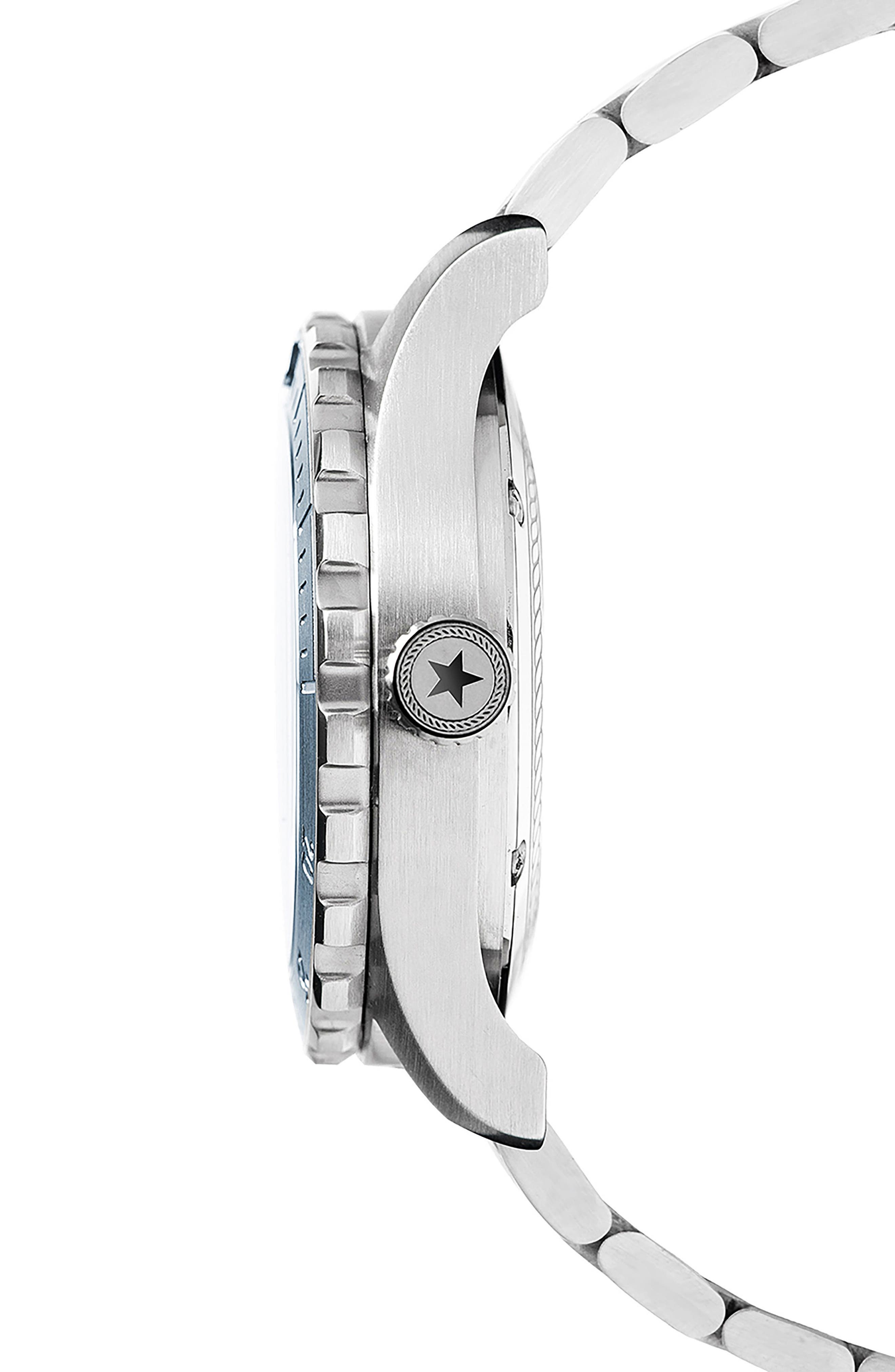 Diving Bracelet Watch, 42mm,                             Alternate thumbnail 3, color,                             NAVY/ STAINLESS STEEL