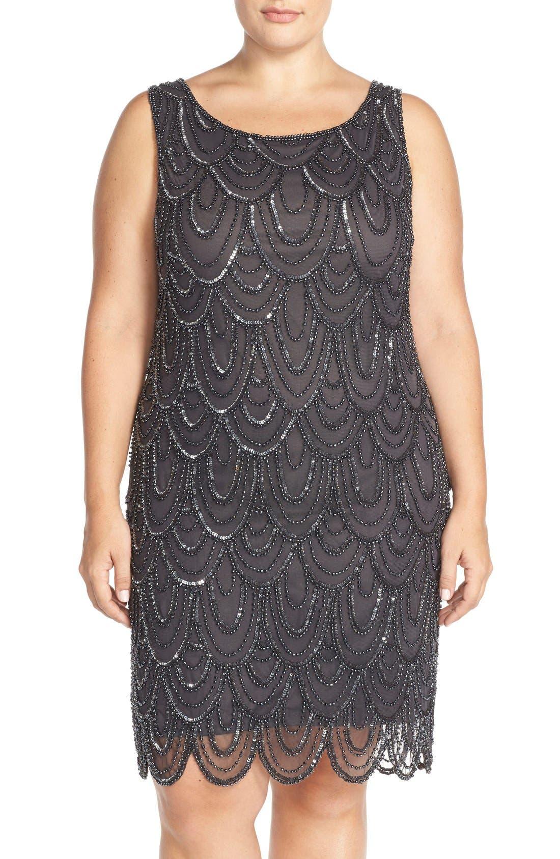 Beaded Sheath Dress,                             Main thumbnail 5, color,