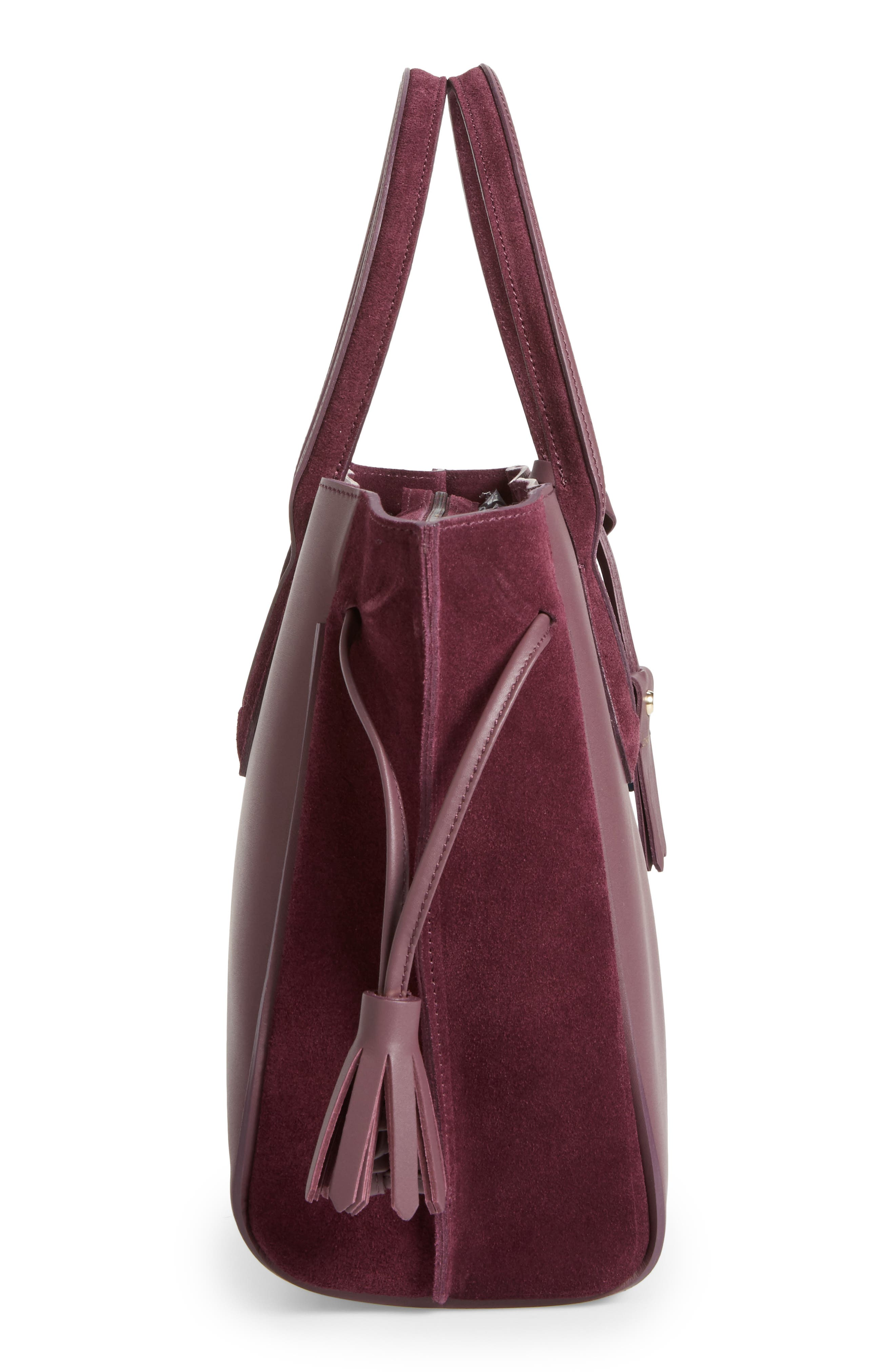 Penelope Leather & Suede Top Handle Tote,                             Alternate thumbnail 5, color,                             500