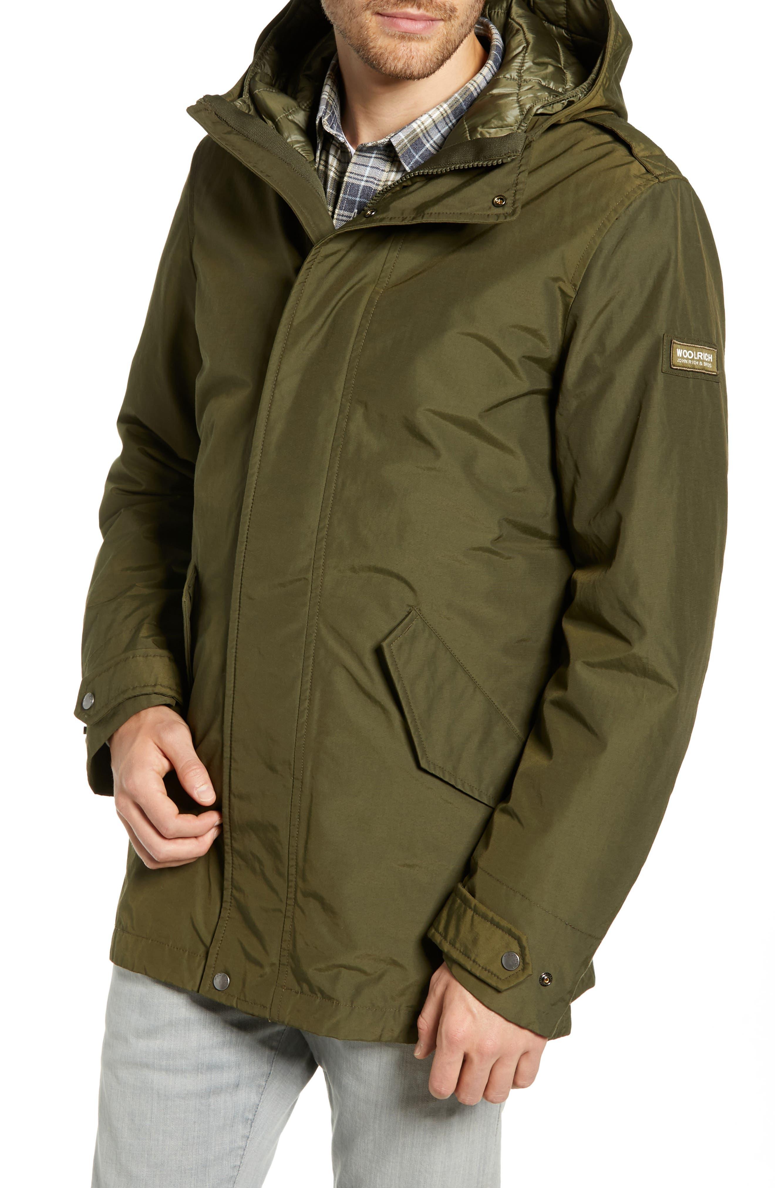 John Rich 'Long Military Eskimo' 3-in-1 Hooded Jacket,                             Alternate thumbnail 5, color,                             FLINT OLIVE