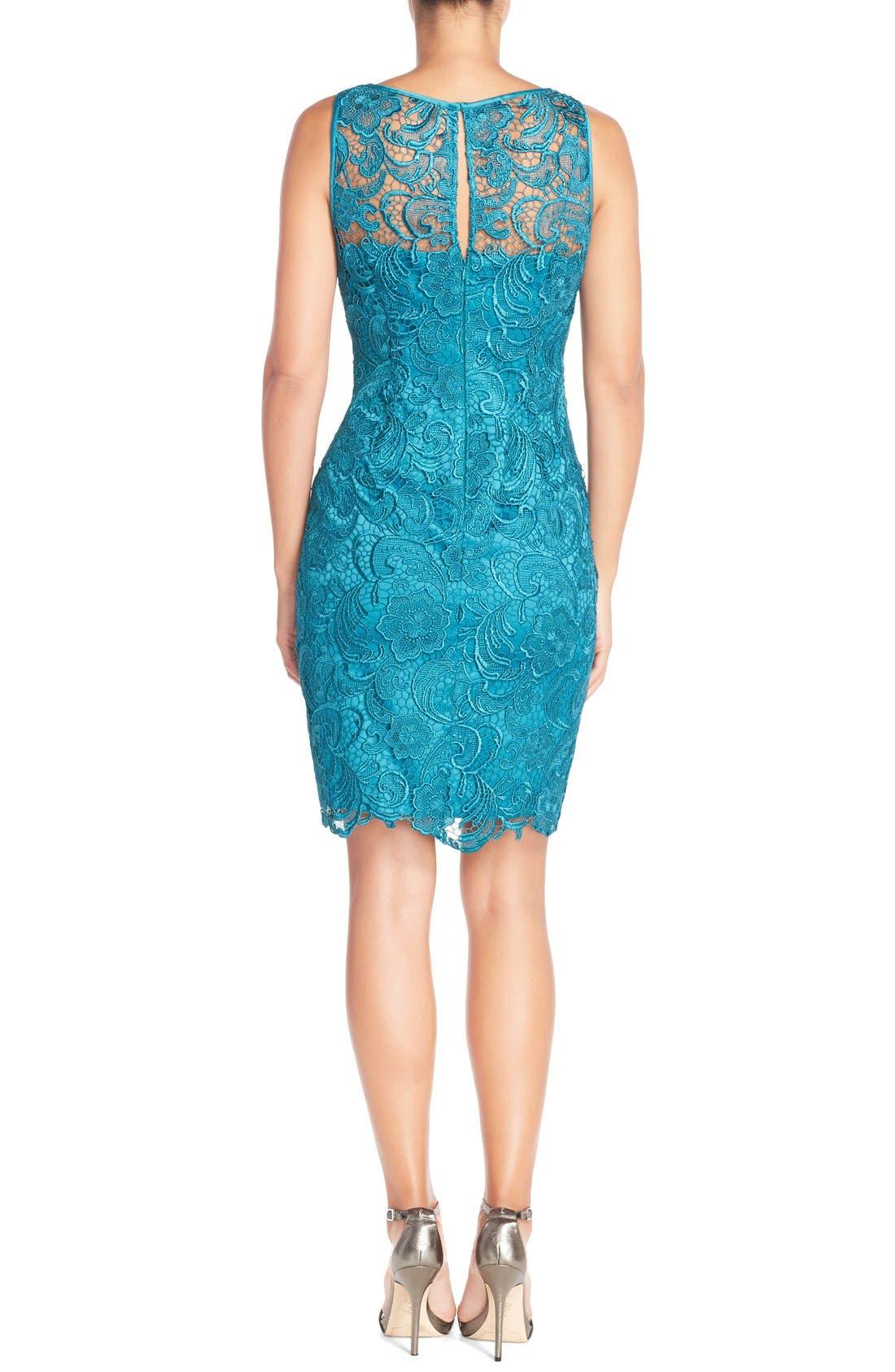Illusion Bodice Lace Sheath Dress,                             Alternate thumbnail 27, color,