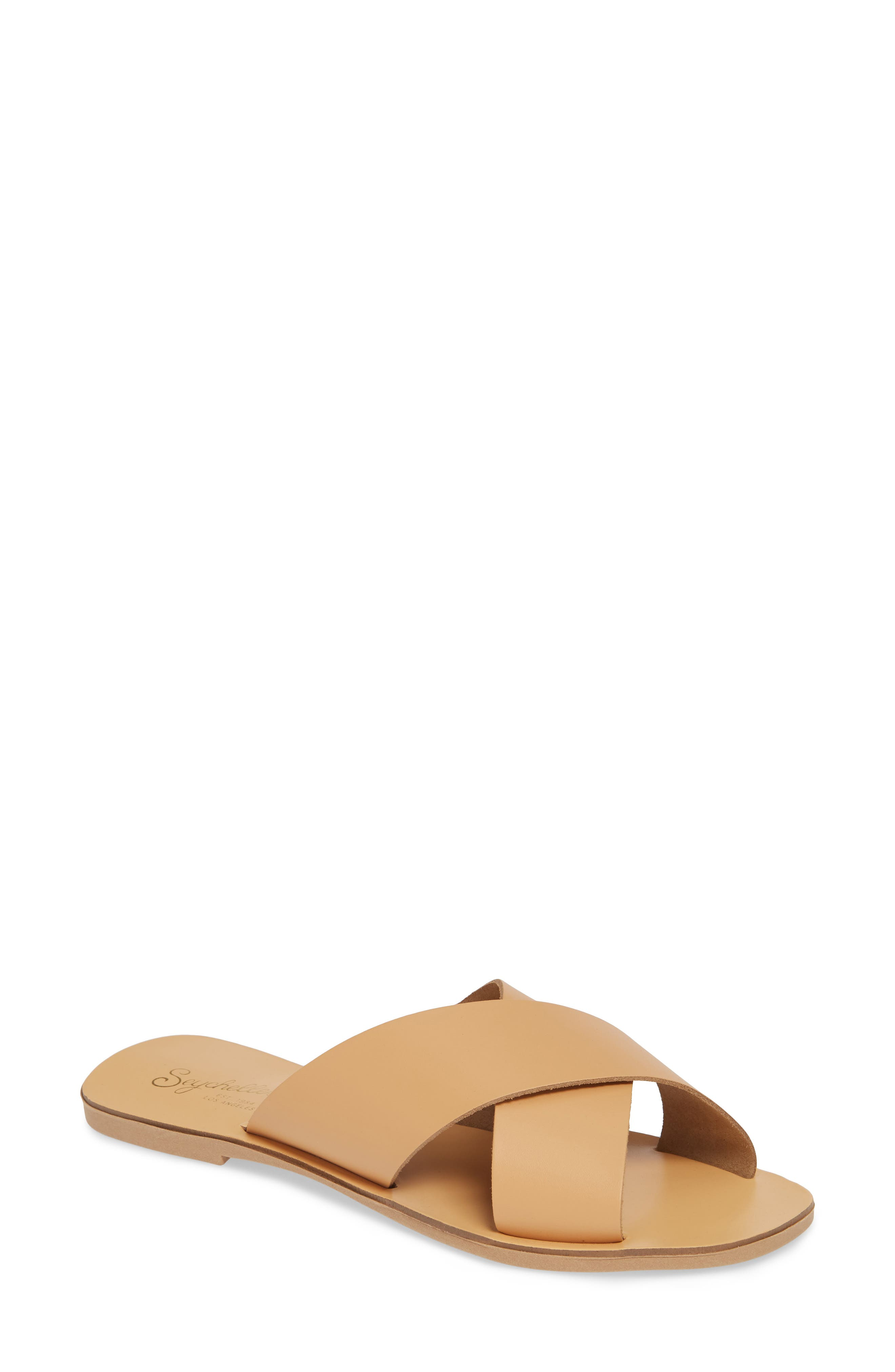 Total Relaxation Slide Sandal, Main, color, BEIGE LEATHER