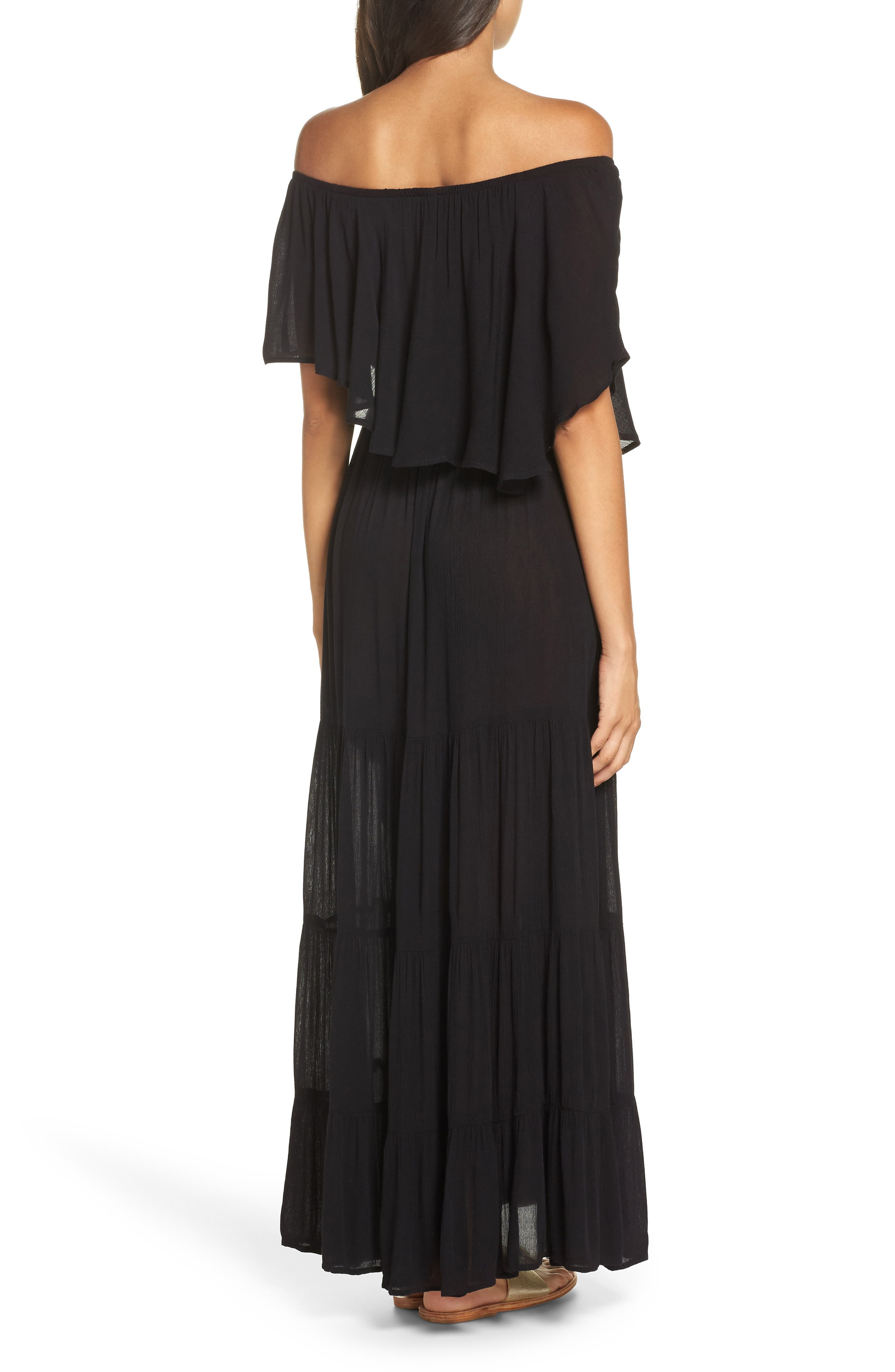 Off the Shoulder Ruffle Cover-Up Maxi Dress,                             Alternate thumbnail 2, color,                             BLACK