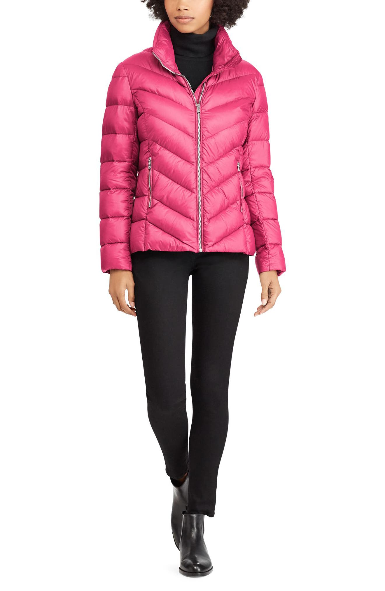 Chevron Quilted Packable Down Jacket,                             Alternate thumbnail 4, color,                             BERRY
