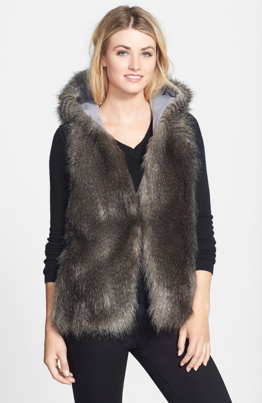 Hooded Faux Fur Vest, Main, color, 020