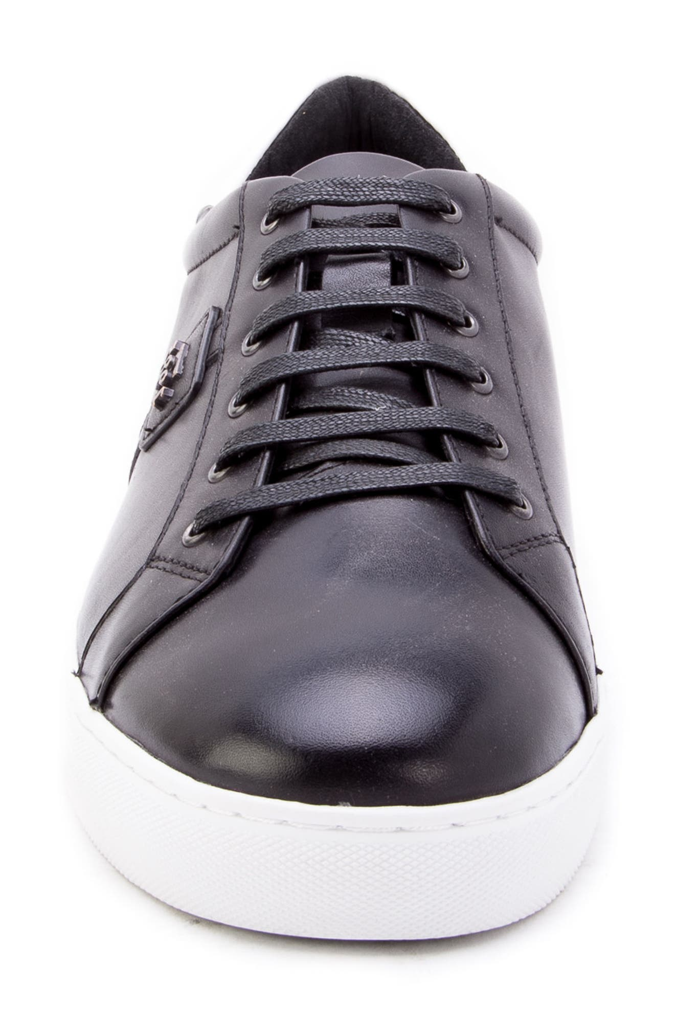 Scheffer Low Top Sneaker,                             Alternate thumbnail 4, color,                             BLACK LEATHER