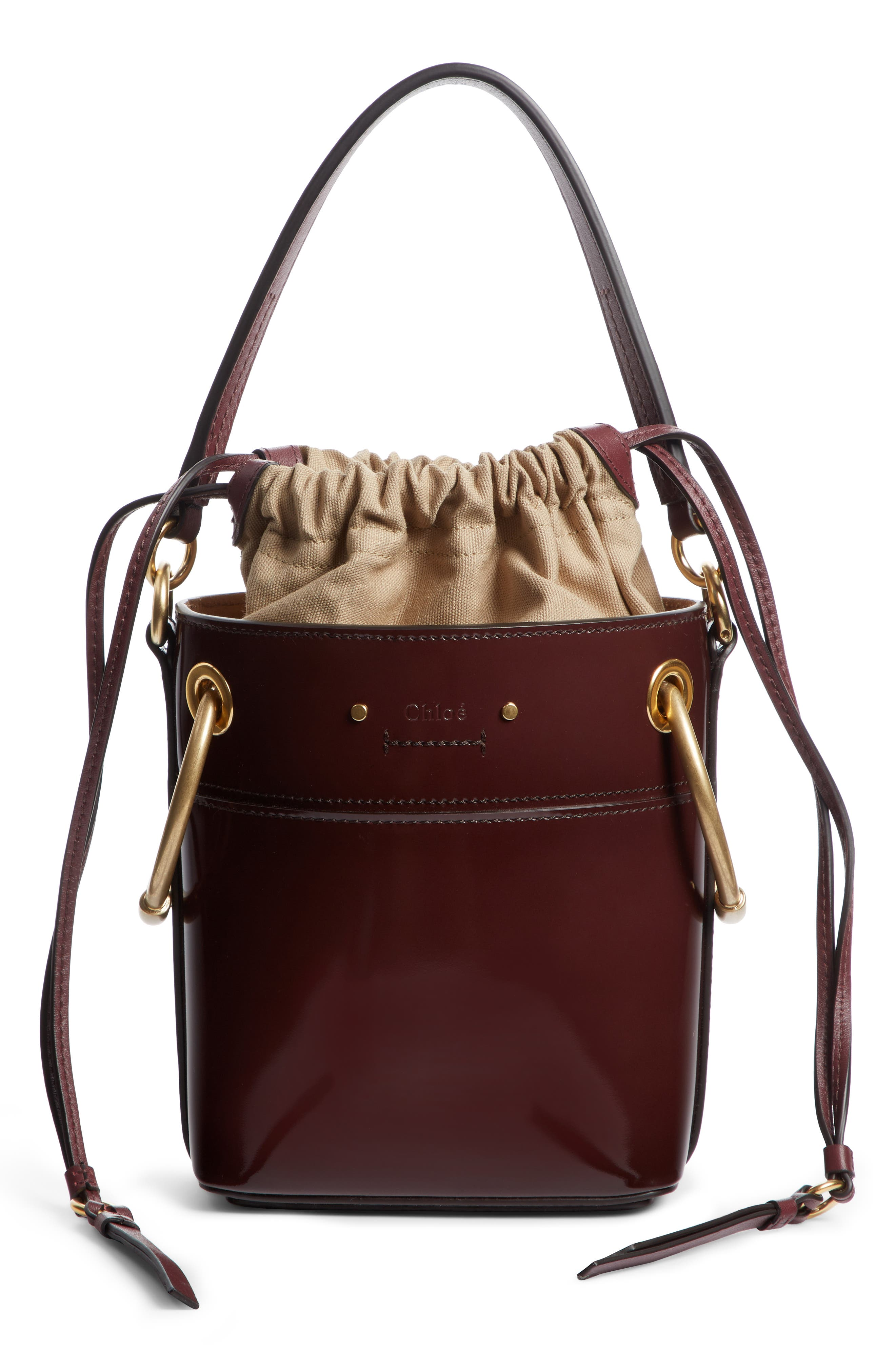Small Roy Leather Bucket Bag,                             Alternate thumbnail 2, color,                             BURNT BROWN
