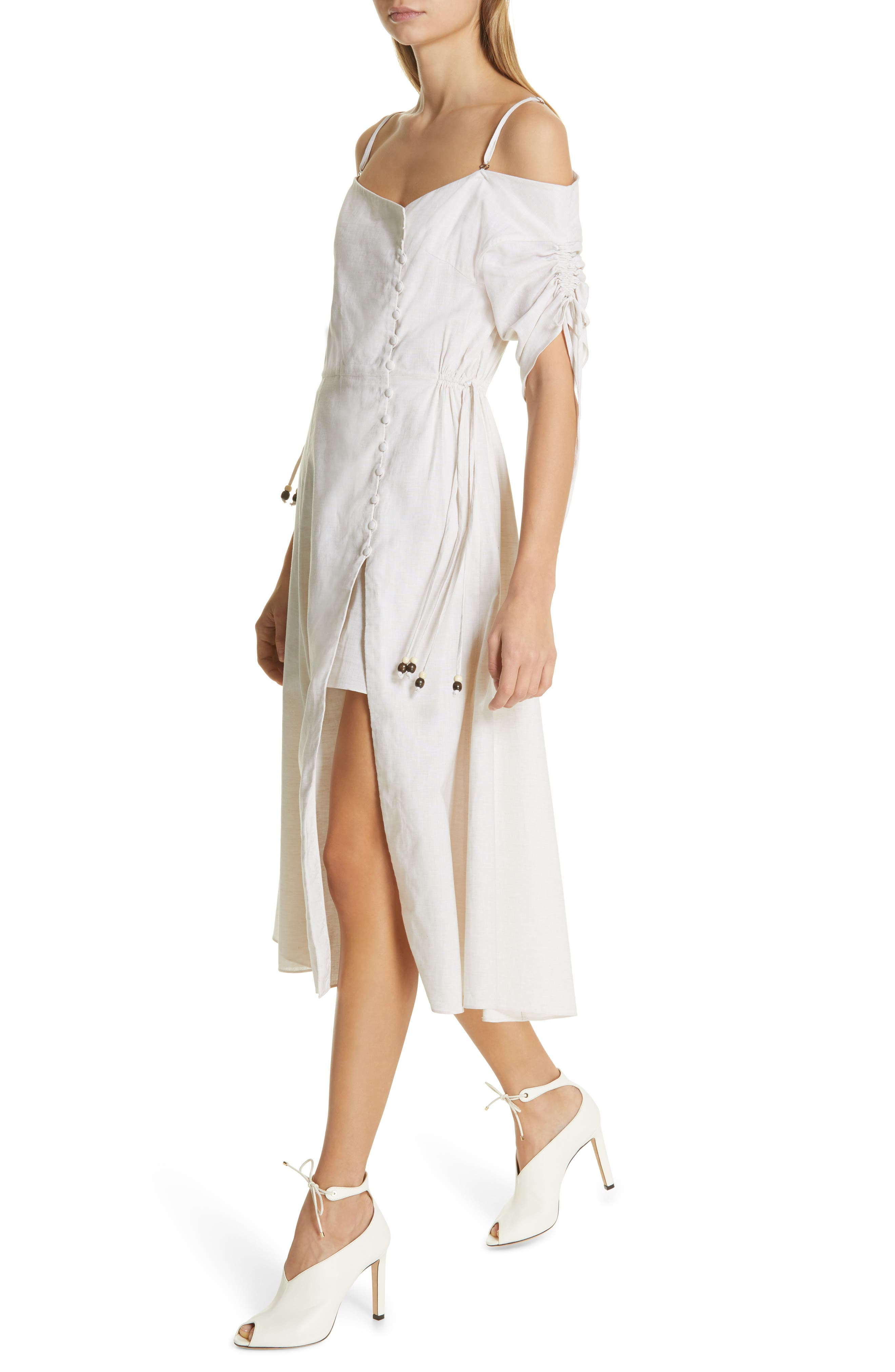JONATHAN SIMKHAI,                             Off the Shoulder Cotton & Linen Dress,                             Alternate thumbnail 4, color,                             ECRU