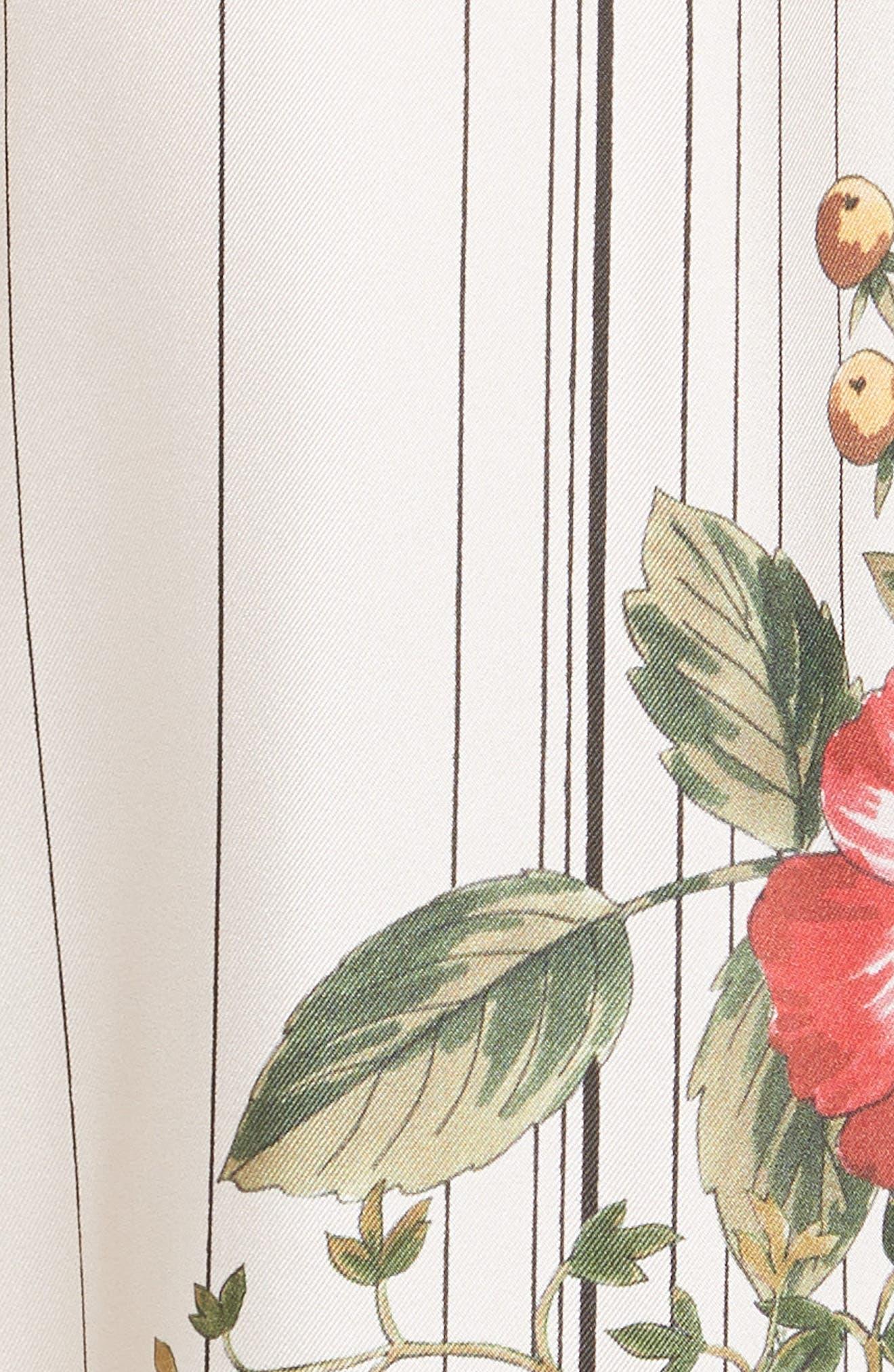 Conner Floral & Stripe Wide Leg Silk Pants,                             Alternate thumbnail 5, color,                             MULTI IVOIRE