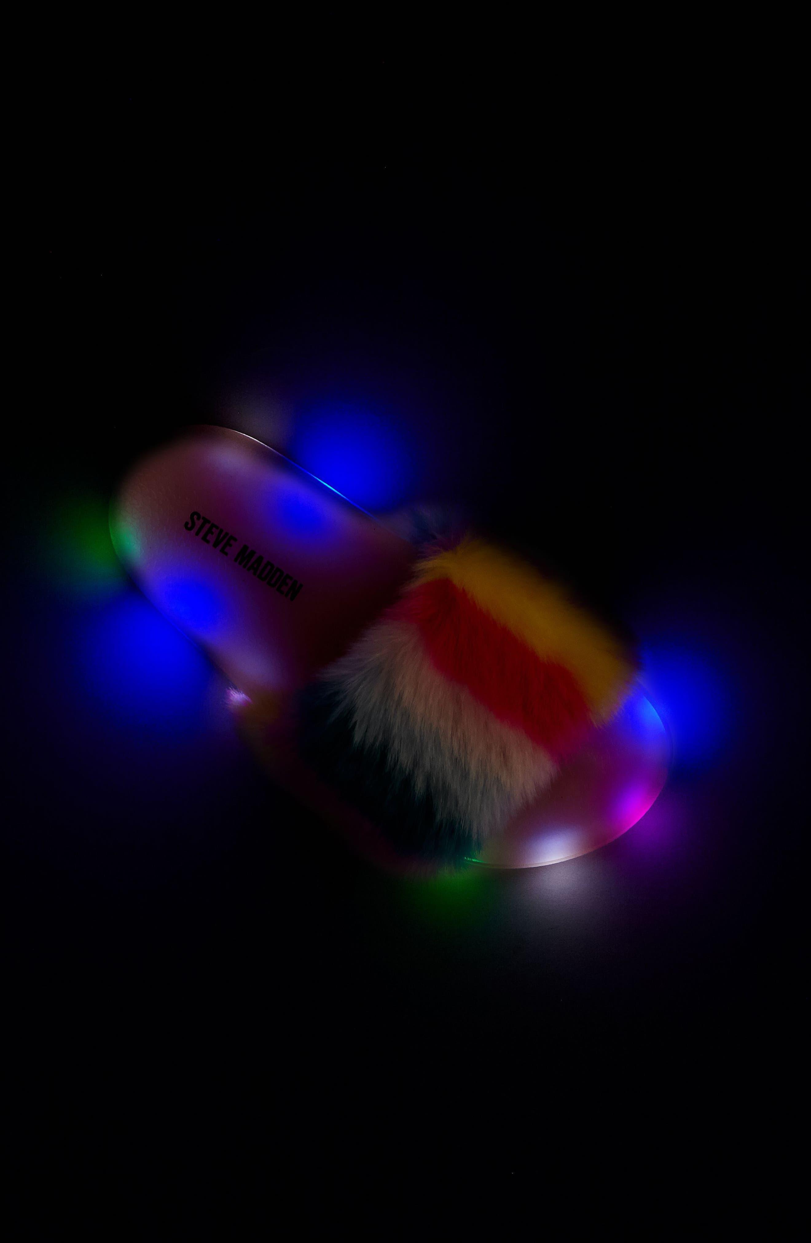 Jlights Faux Fur Light-Up Slide Sandal,                             Alternate thumbnail 7, color,                             650